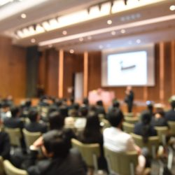 Audience learning from a speaker at a conference