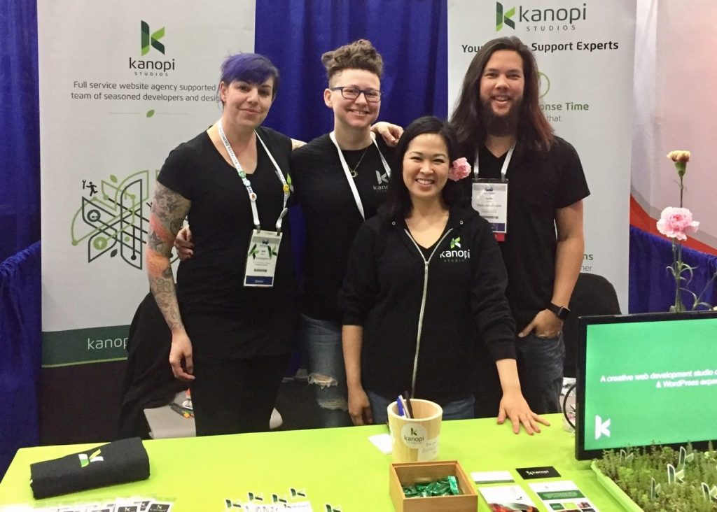 Group of Kanopi Employees at DrupalCon 2017 Booth