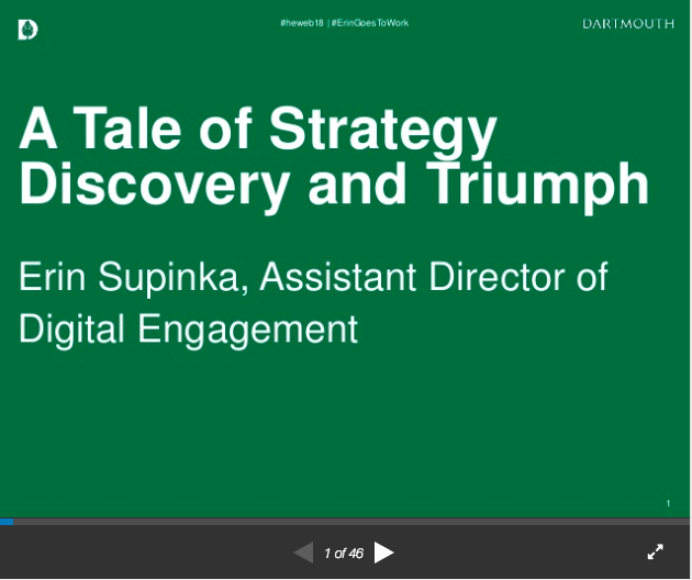 Screen grab of Erin Supinka's talk on infusing strategy into social media at Dartmouth