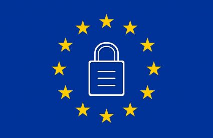 European flag with GDPR data protection padlock