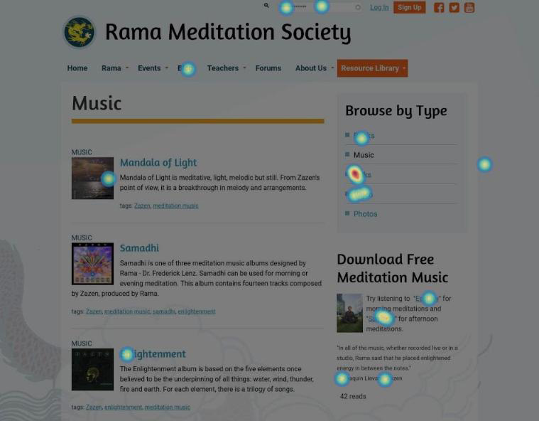 Example of a heat map on a web page for Rama Meditation Society