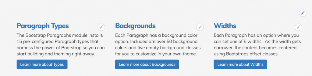 Screen grab of editing with the Bootstrap Paragraphs columns component