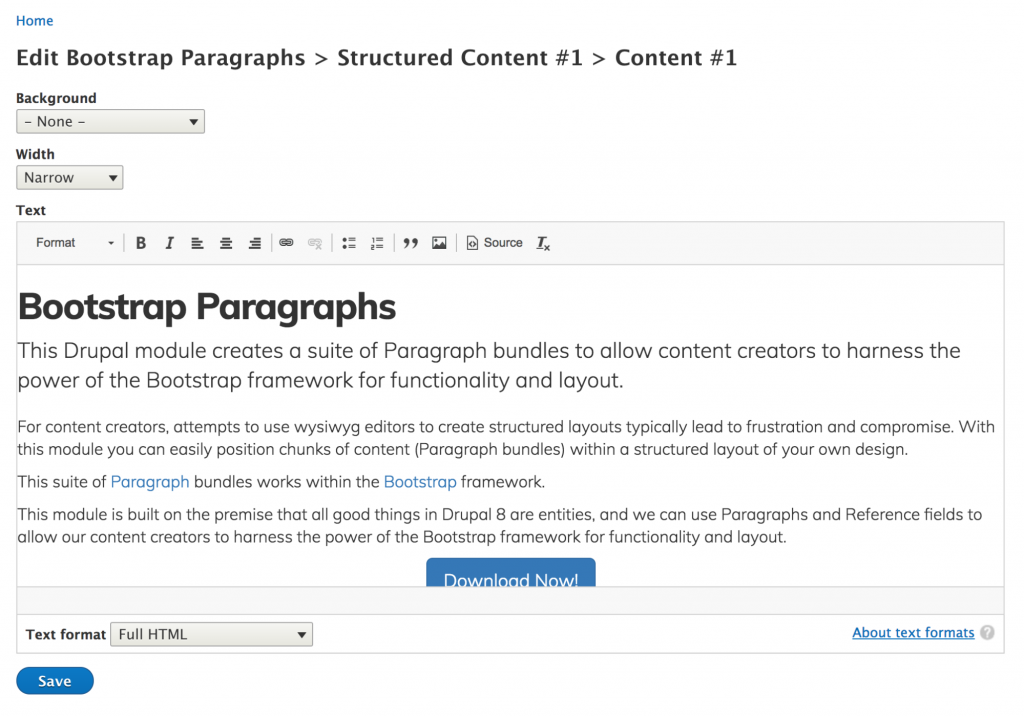 Screen grab of admin screen for Paragraphs component area
