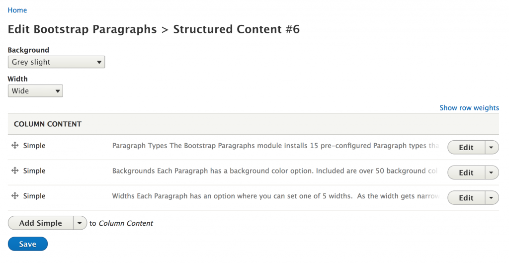 Screen grab of editing with the Drupal Paragraphs Edit module.