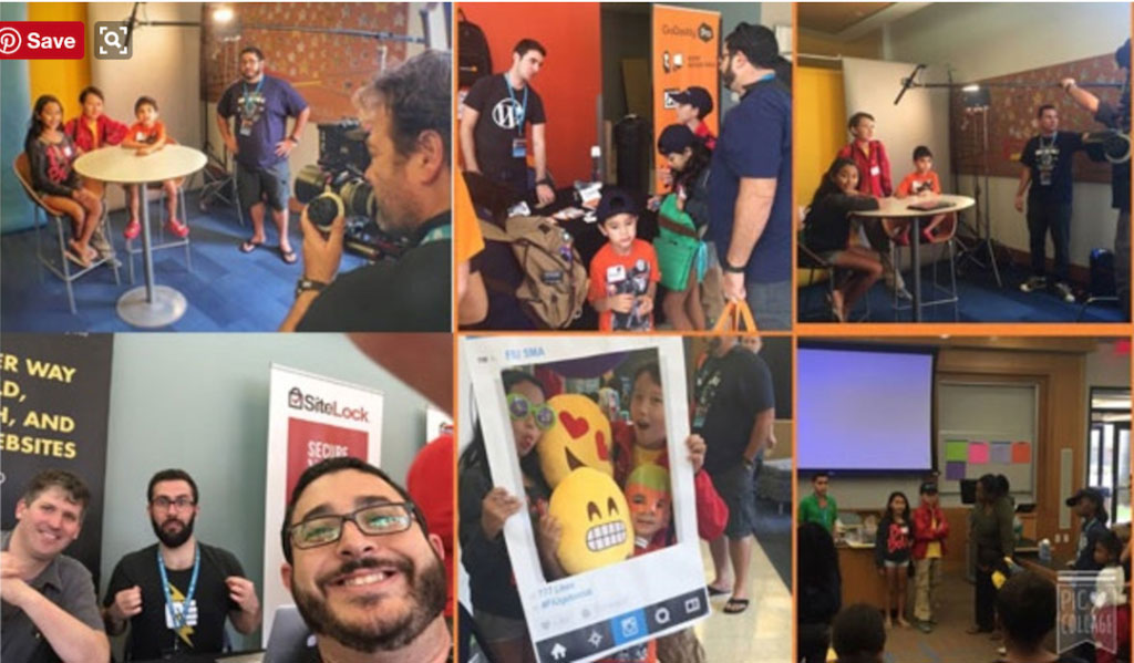 Collage of photos of Drupal developers and their families smiling at the camera