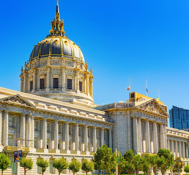 San Francisco City Hall on a sunny day against a blue sky. The keyword for this blog post is drupal for government.