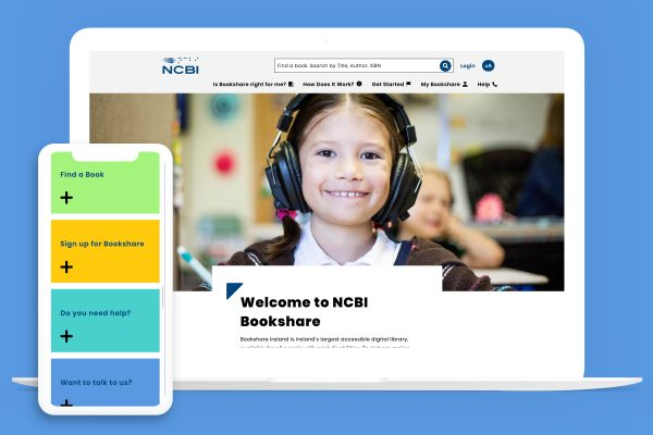 Benetech Bookshare website displayed on a laptop and a phone.