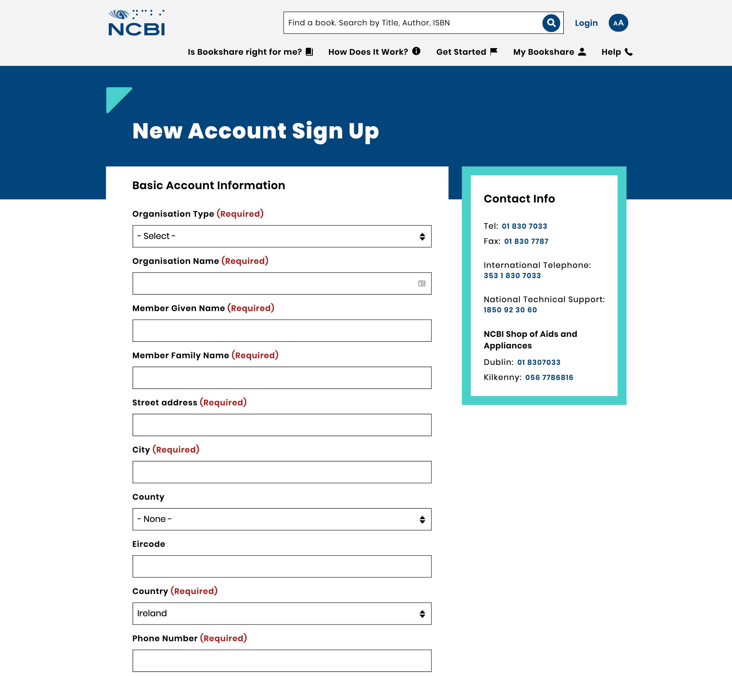 Bookshare new account form layout.