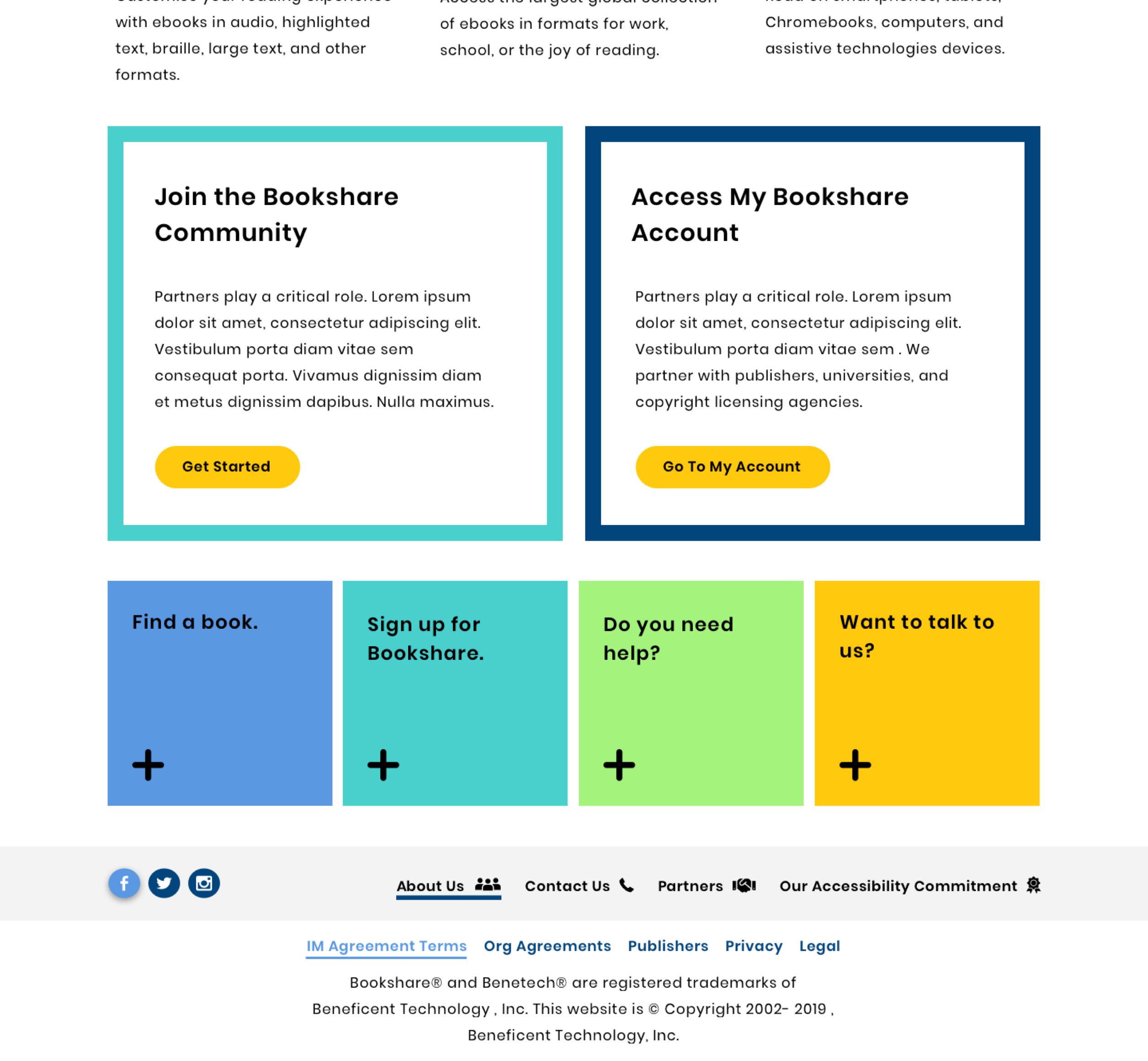 Bookshare calls to action layout.