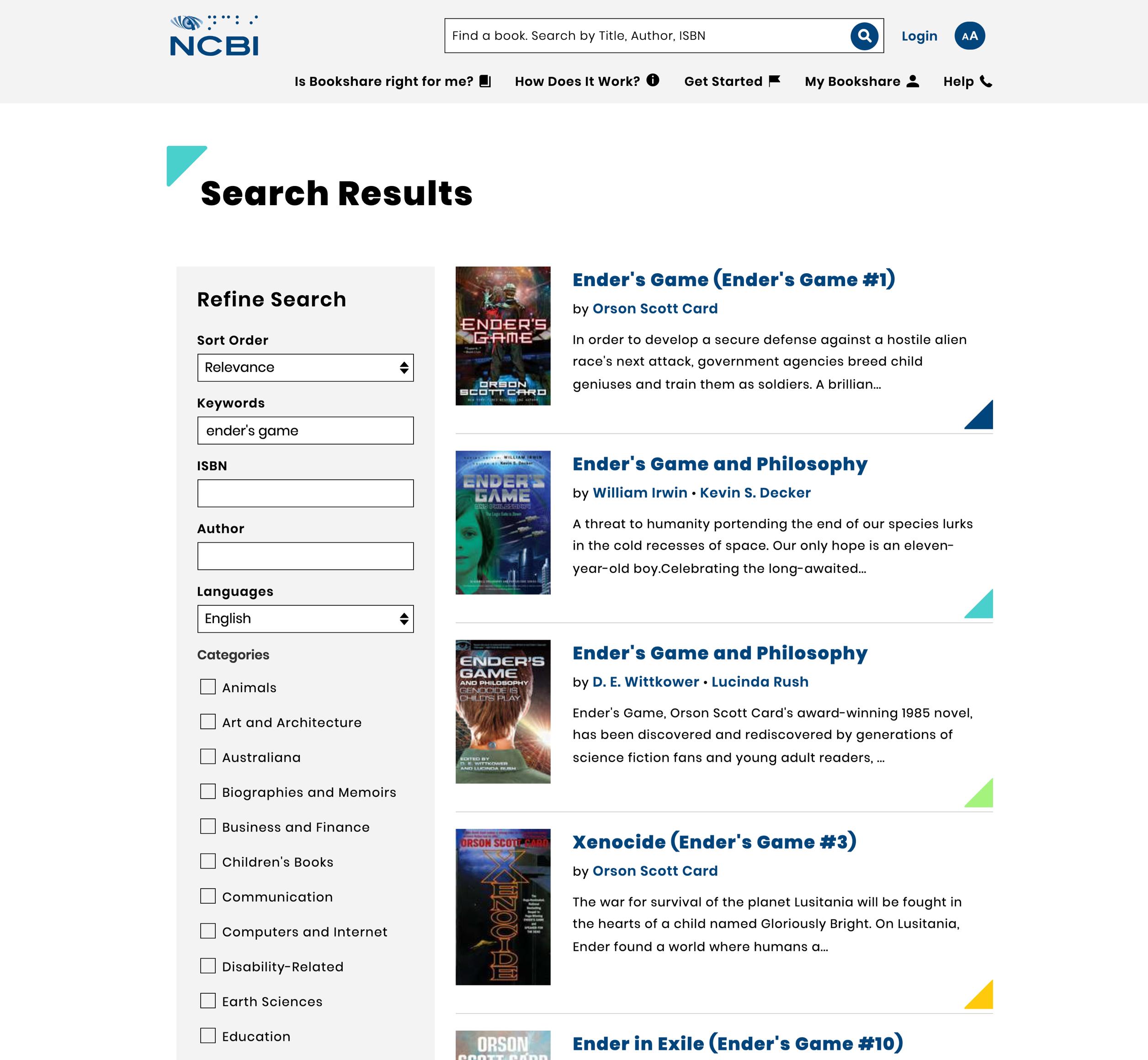 Bookshare book search list layout.