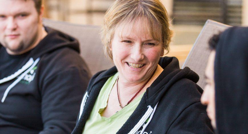 Denise still smiling