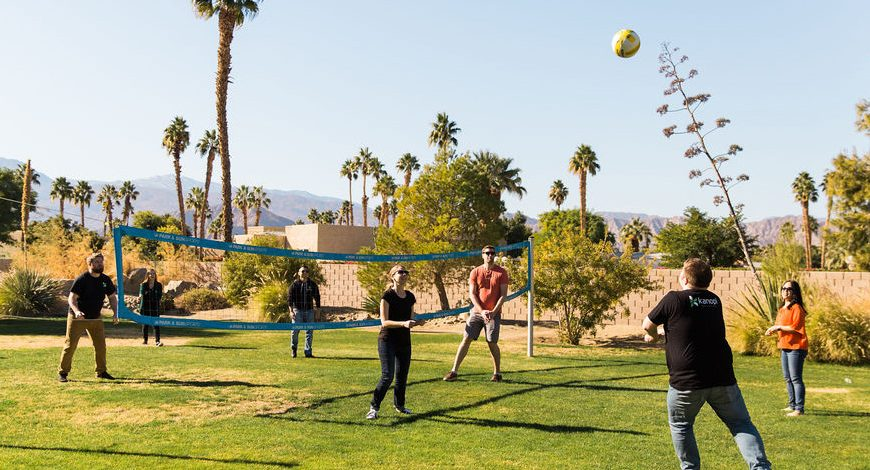 Team playing ball at the retreat