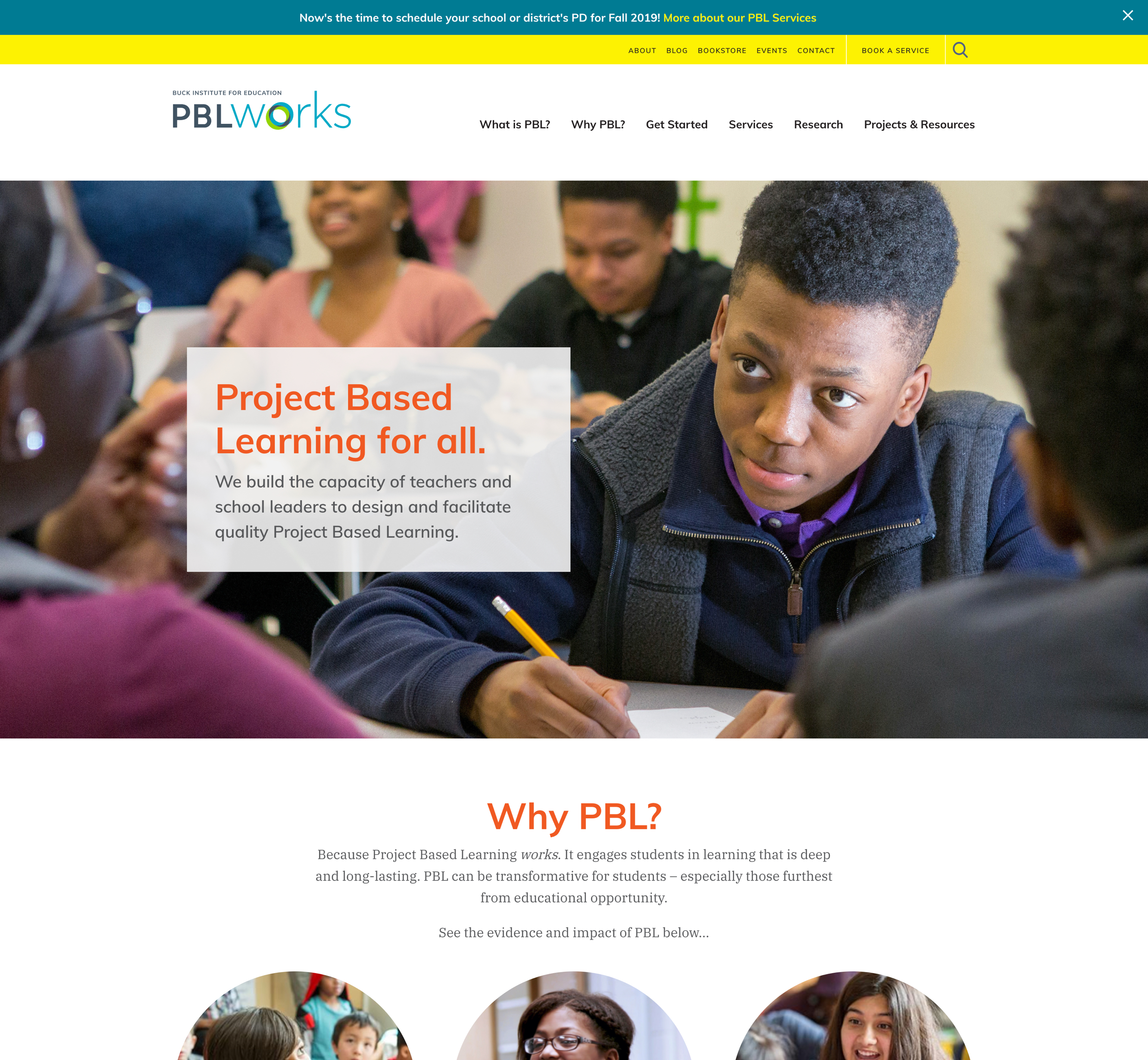 A screenshot of PBL Works' home page, one of Kanopi Studio's case studies.