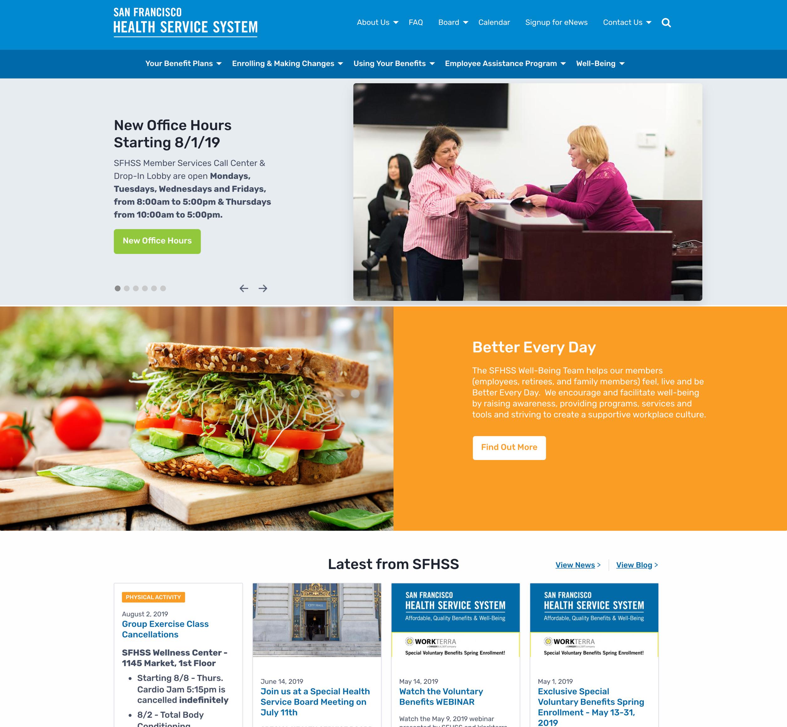 A screenshot of San Francisco's Heath Service System's homepage, a Kanopi Studios case study.