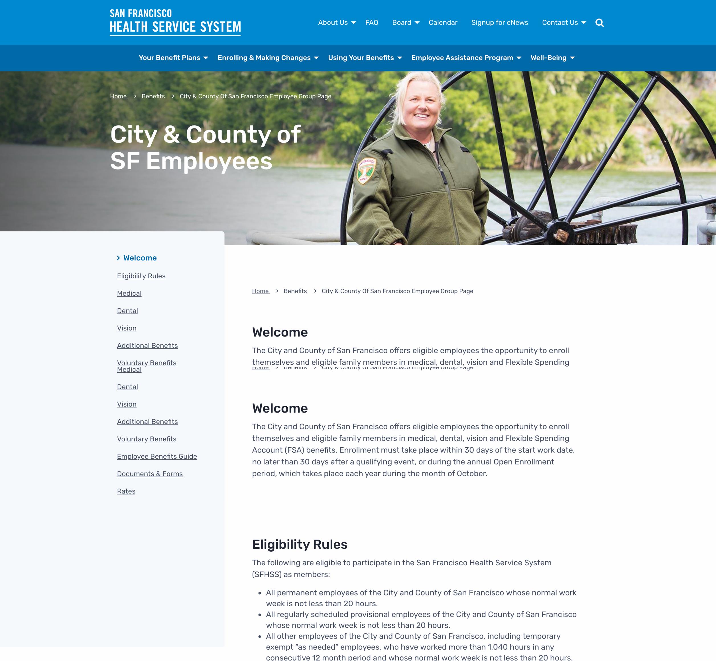 A screenshot of San Francisco's Heath Service System's employee web page, a Kanopi Studios case study.