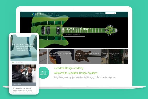 A demonstration of Autodesk Design Academy's website on a laptop and on a phone, one of Kanopi Studio's case studies.
