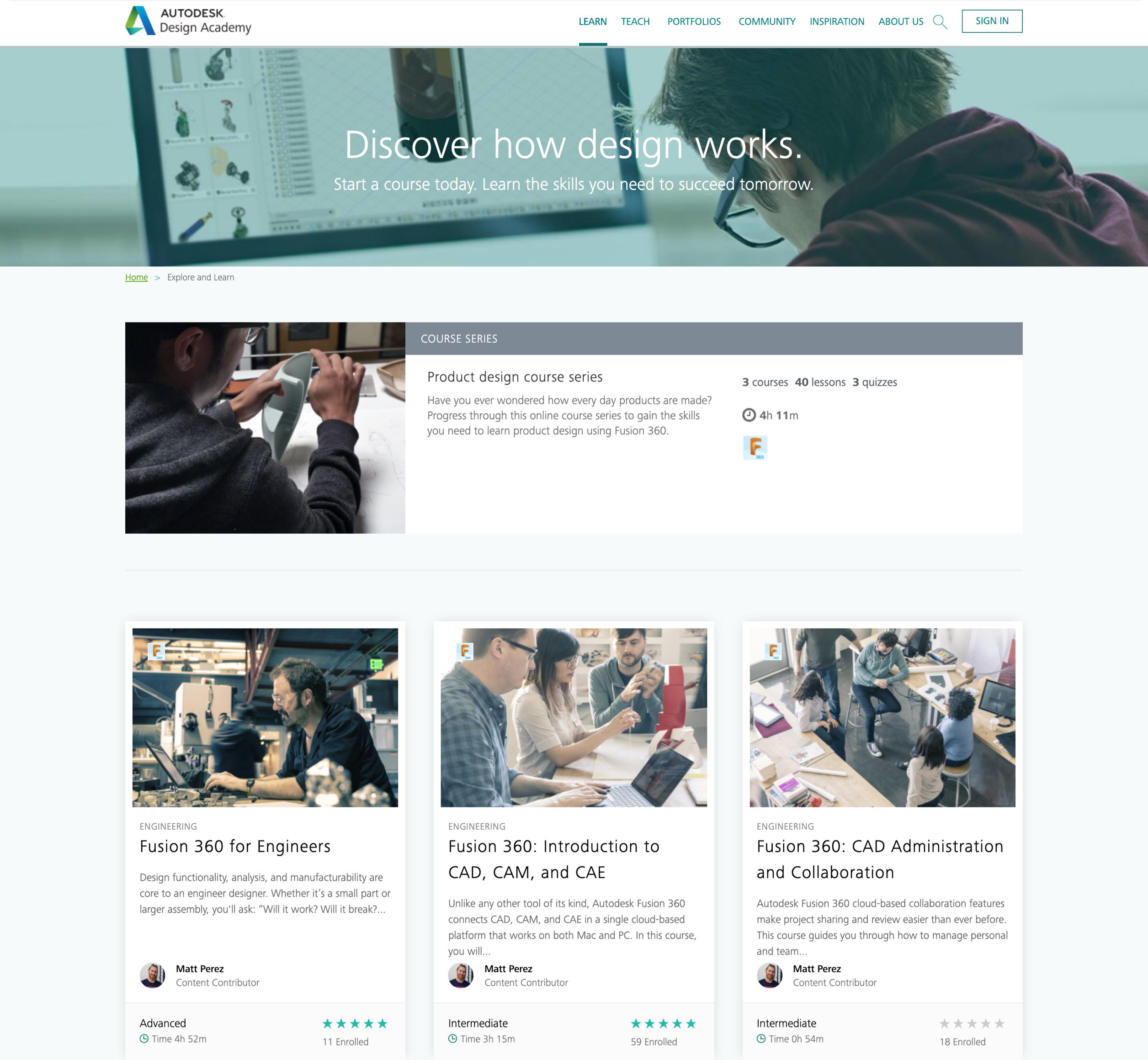 A screenshot of Autodesk Design Academy's class list webpage, a Kanopi Studio's case study.