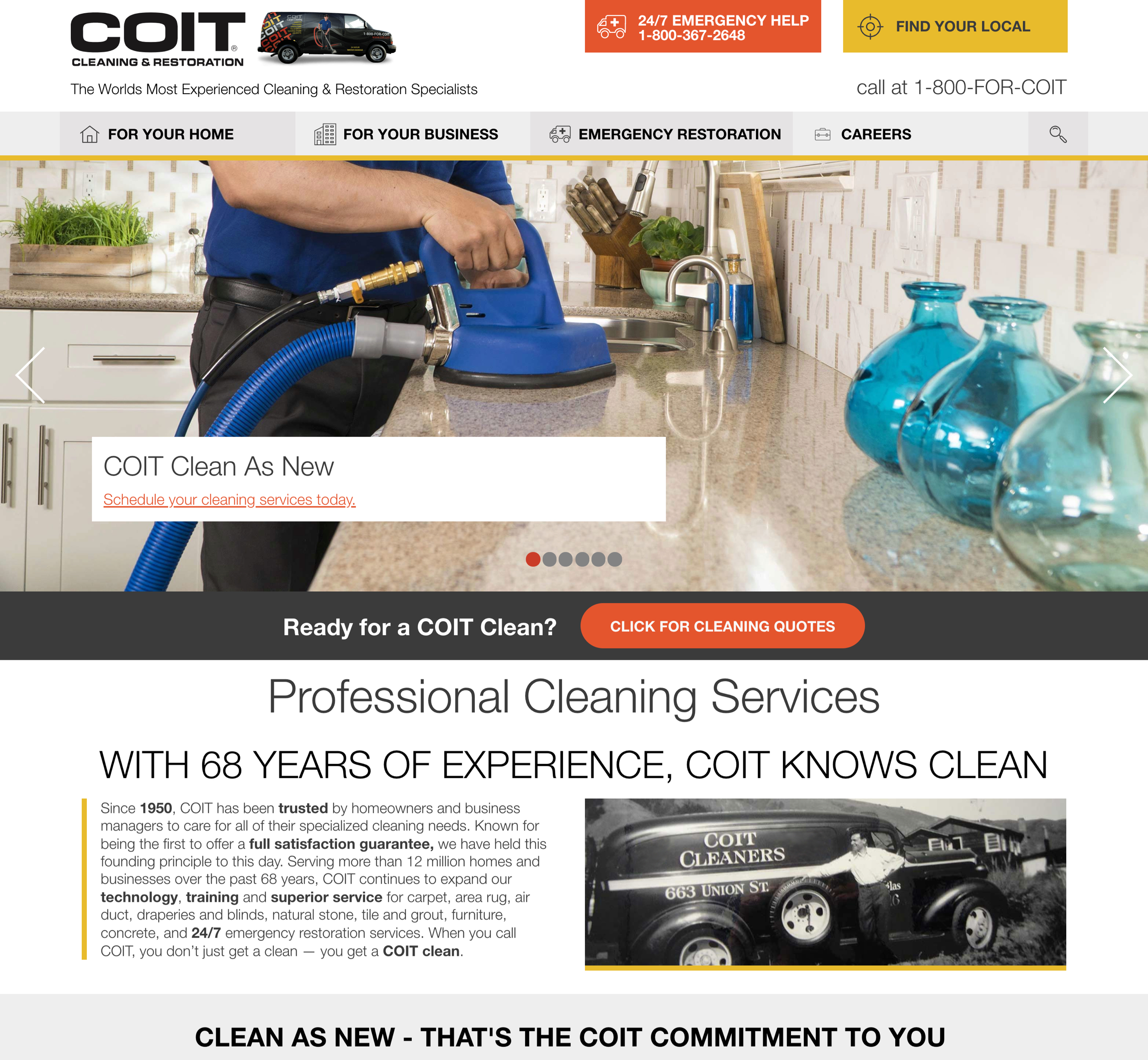 A screenshot of COIT Cleaning & Restoration's homepage, a Kanopi Studios case study.