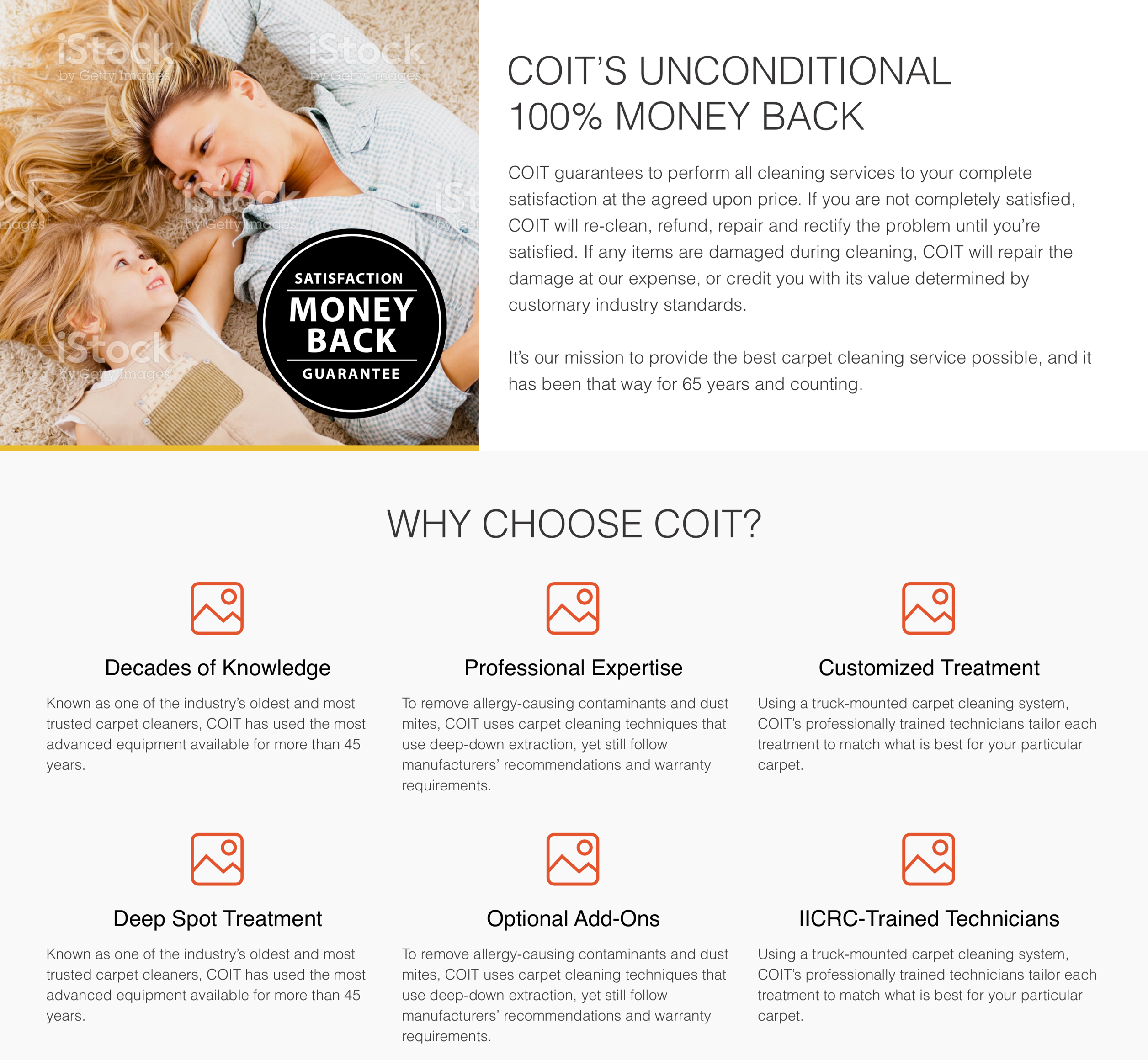 A screenshot of COIT Cleaning & Restoration's value proposition, a Kanopi Studios case study.