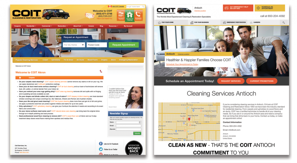 A COIT franchise home page: before (left) and after (right).