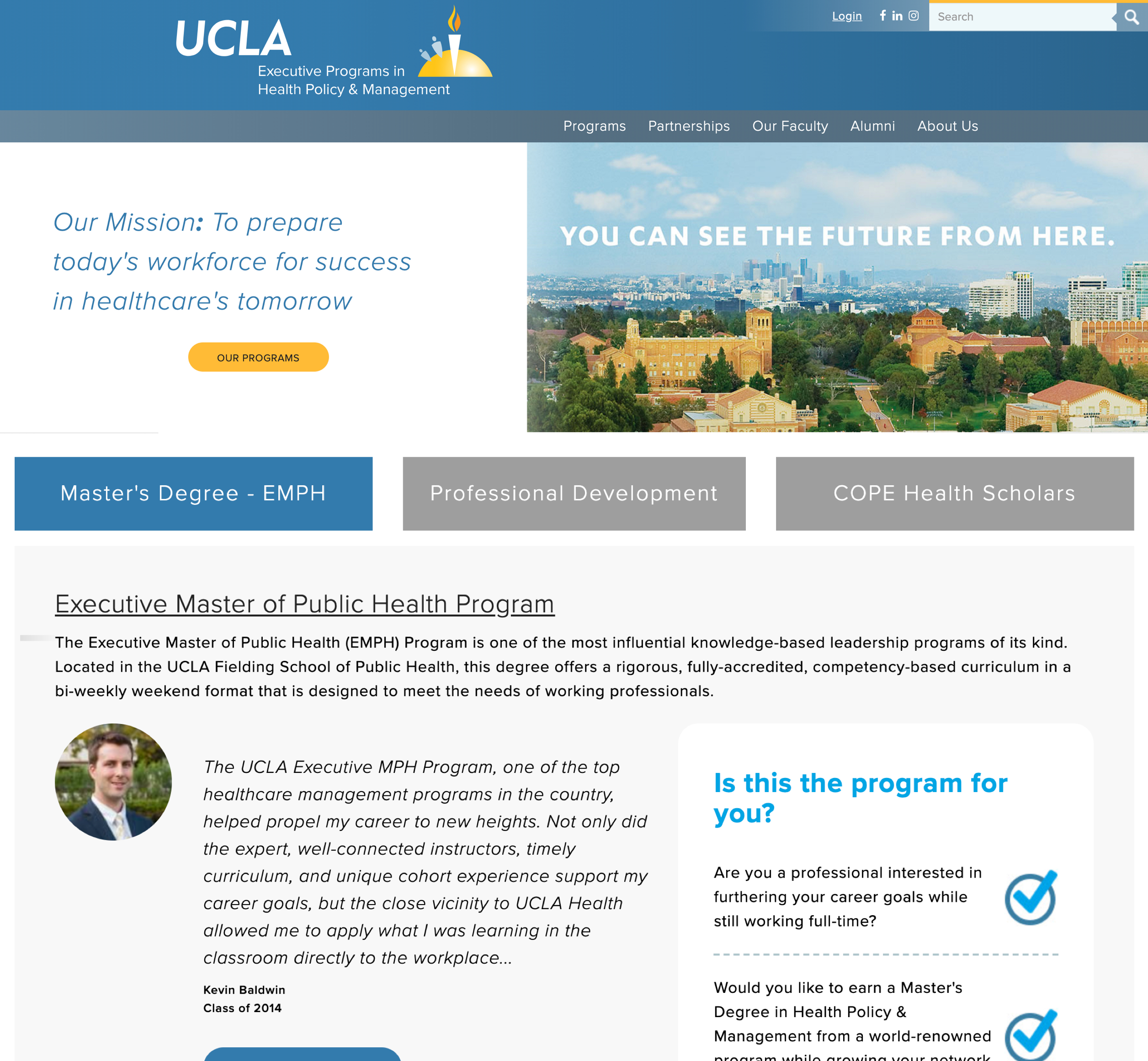 A screenshot of UCLA's Executive Programs in Health Policy and Management's homepage, a Kanopi Studios case study.