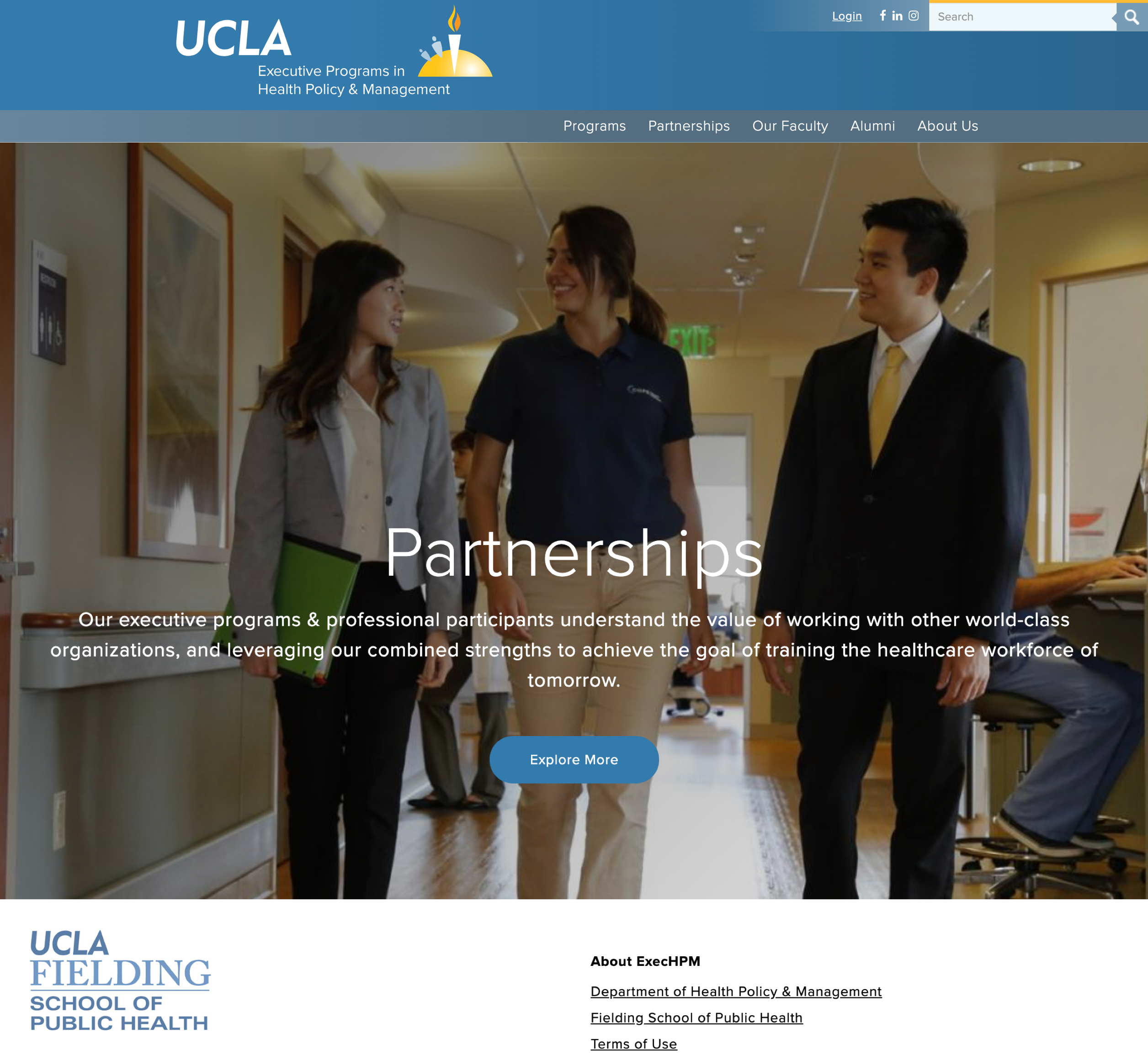 A screenshot of UCLA's Executive Programs in Health Policy and Management's partnership section, a Kanopi Studios case study.