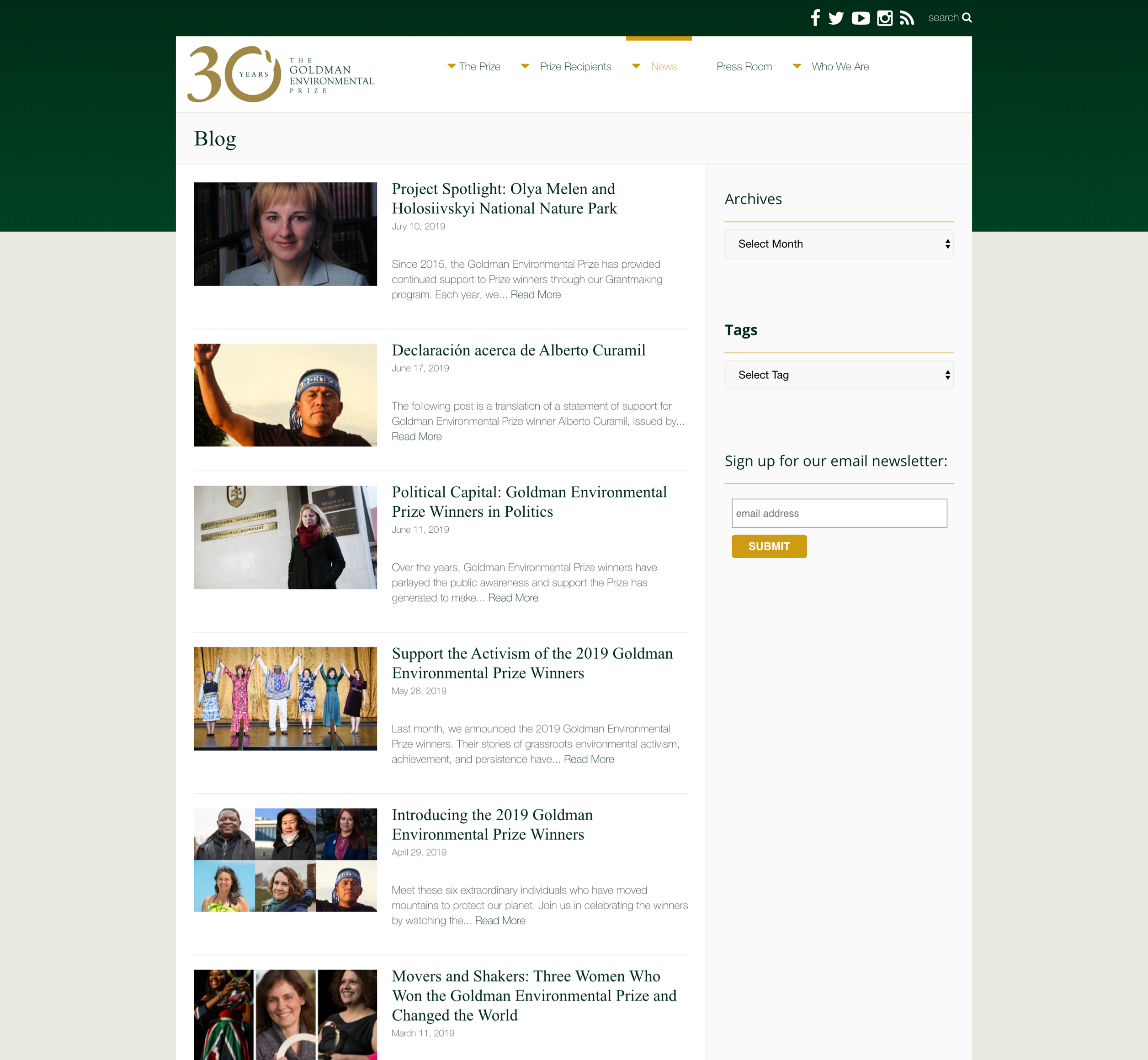 Screenshot of The Goldman Environmental Prize website's blog list, a Kanopi Studios case study.