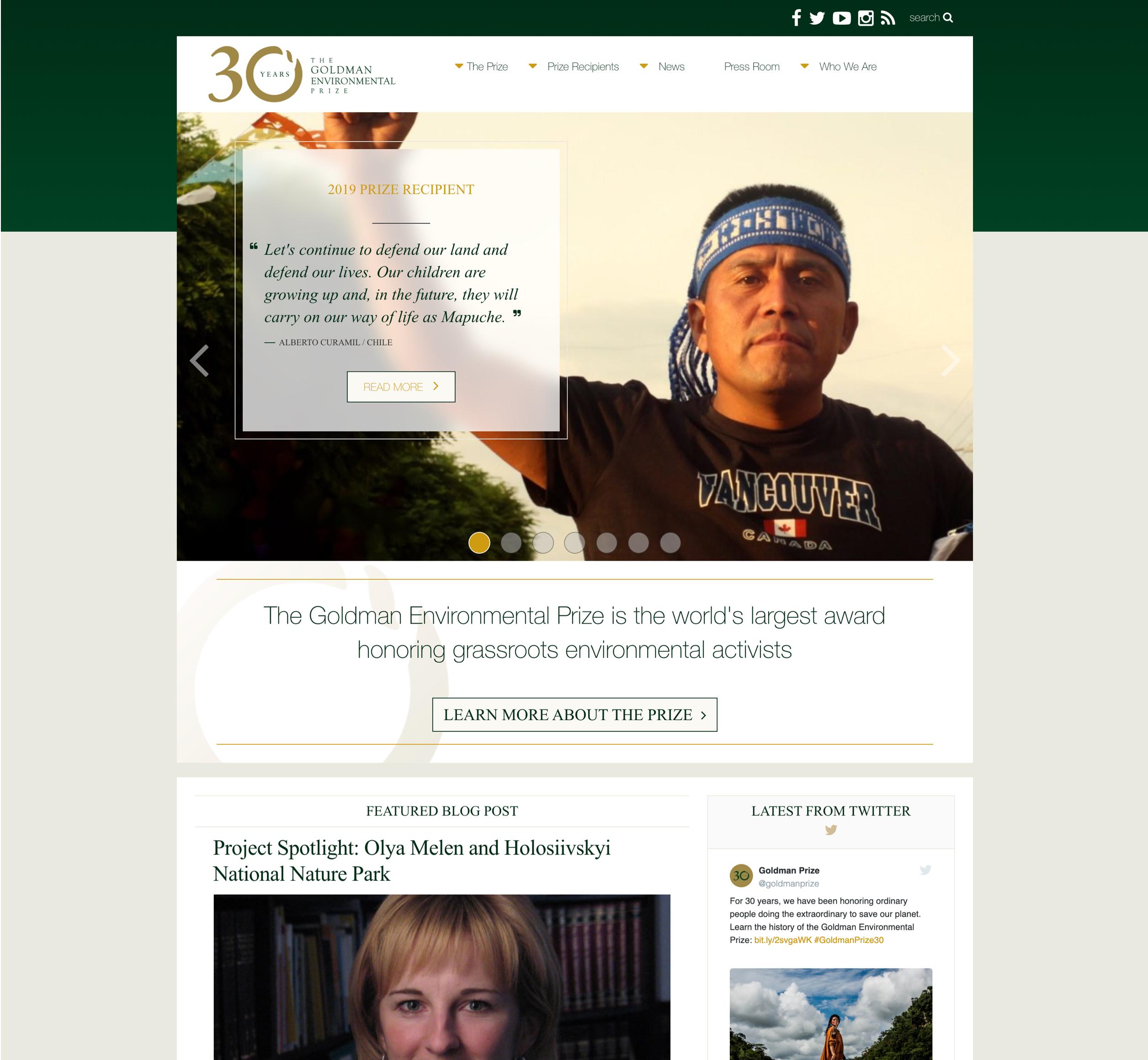 Screenshot of The Goldman Environmental Prize website's homepage, a Kanopi Studios case study.