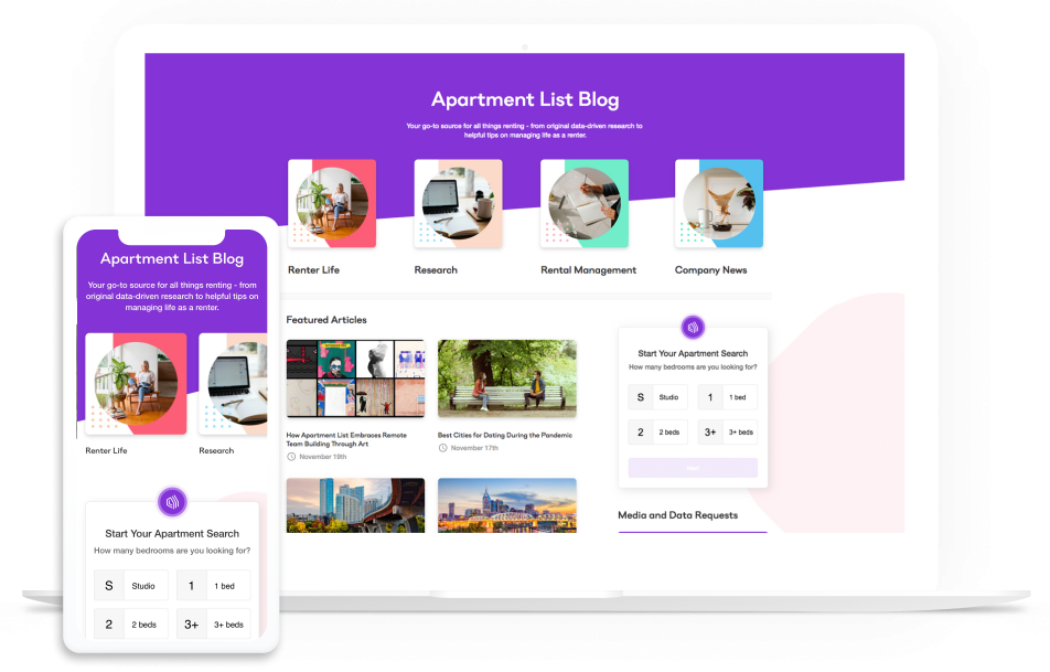 Rentonomics website on multiple devices
