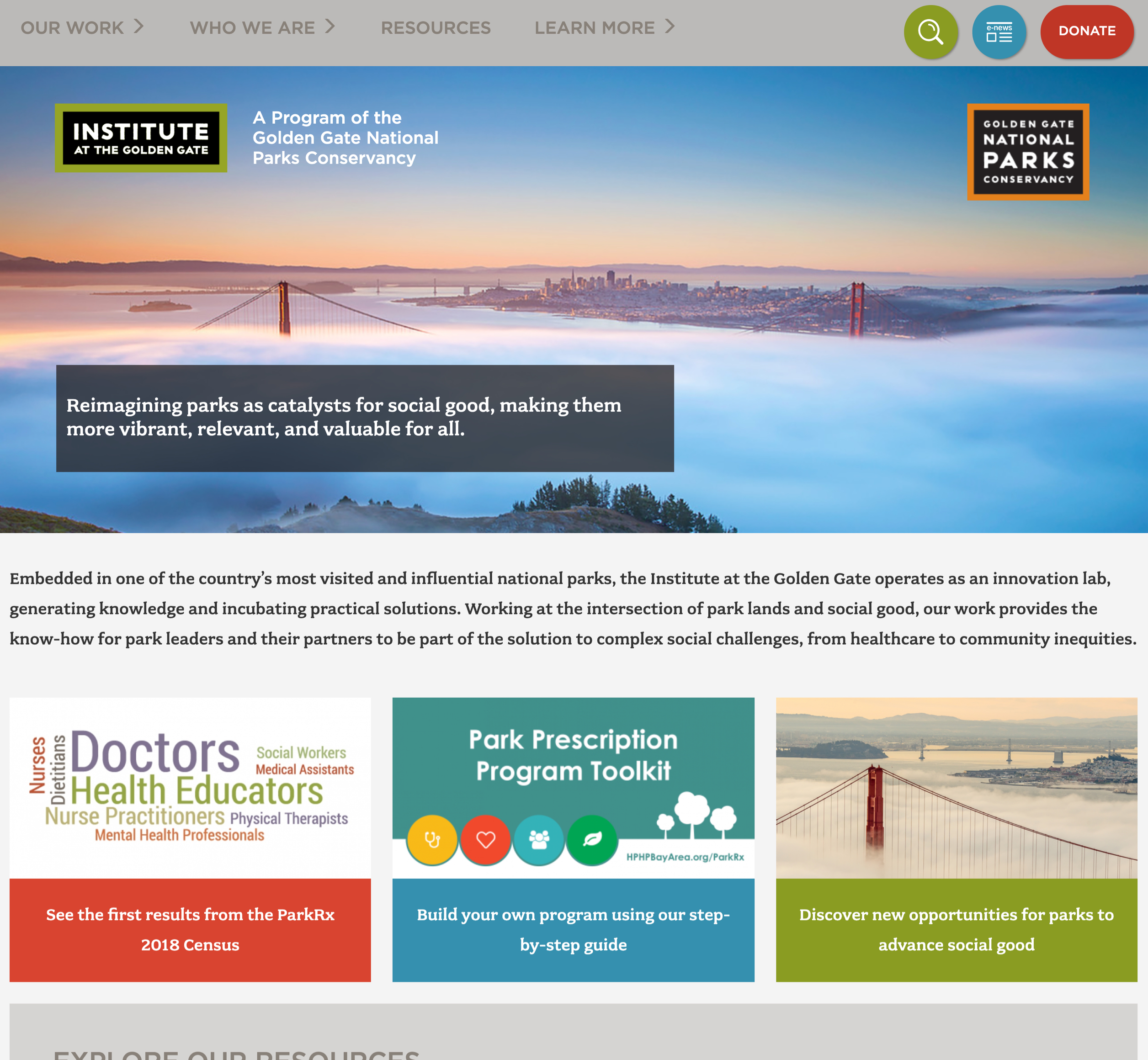 A screenshot of Institute at Golden Gate's homepage, a Kanopi Studios case study.