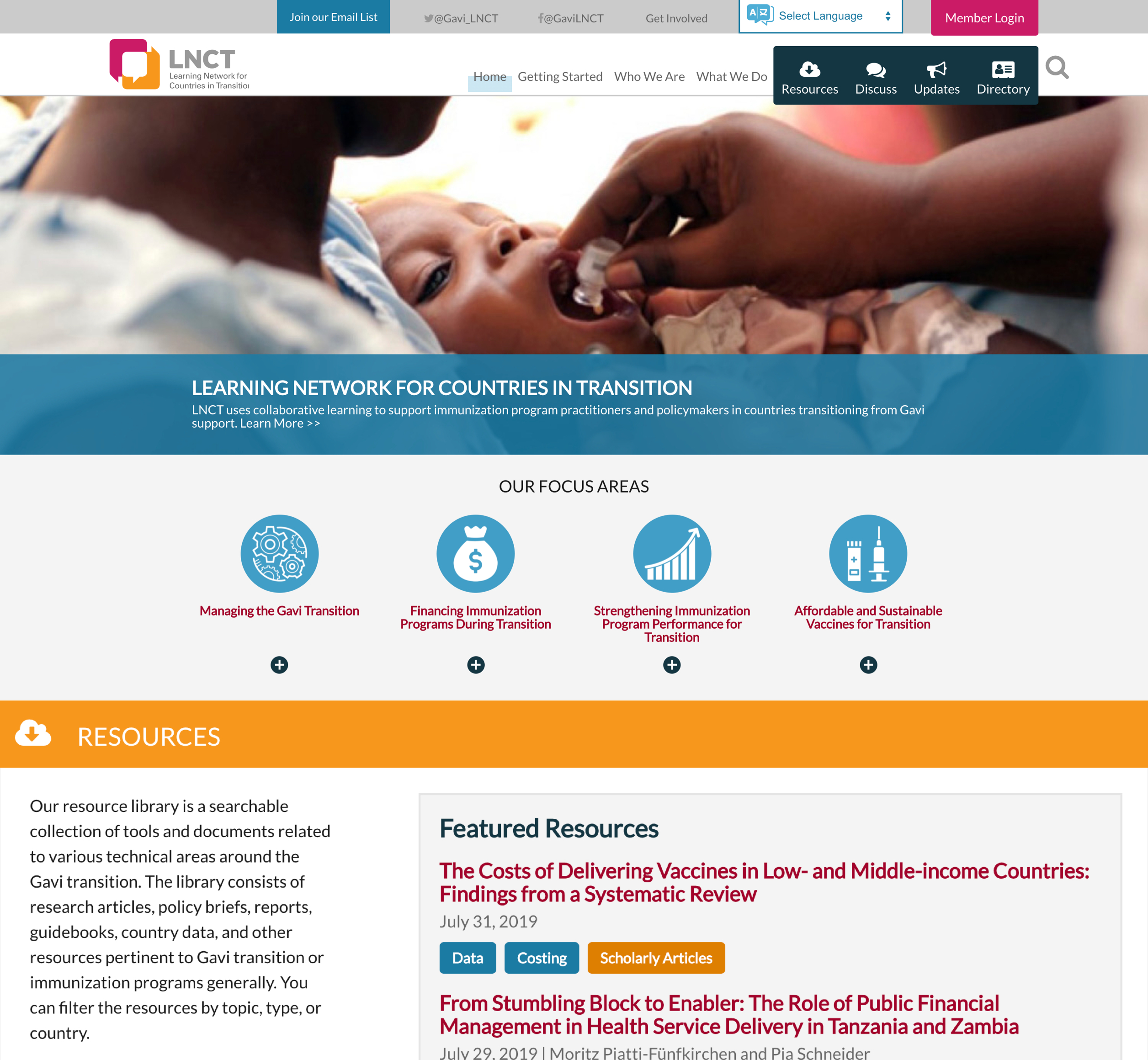 A screenshot of the Learning Networks for Countries in Transition homepage, a Kanopi Studios case study.