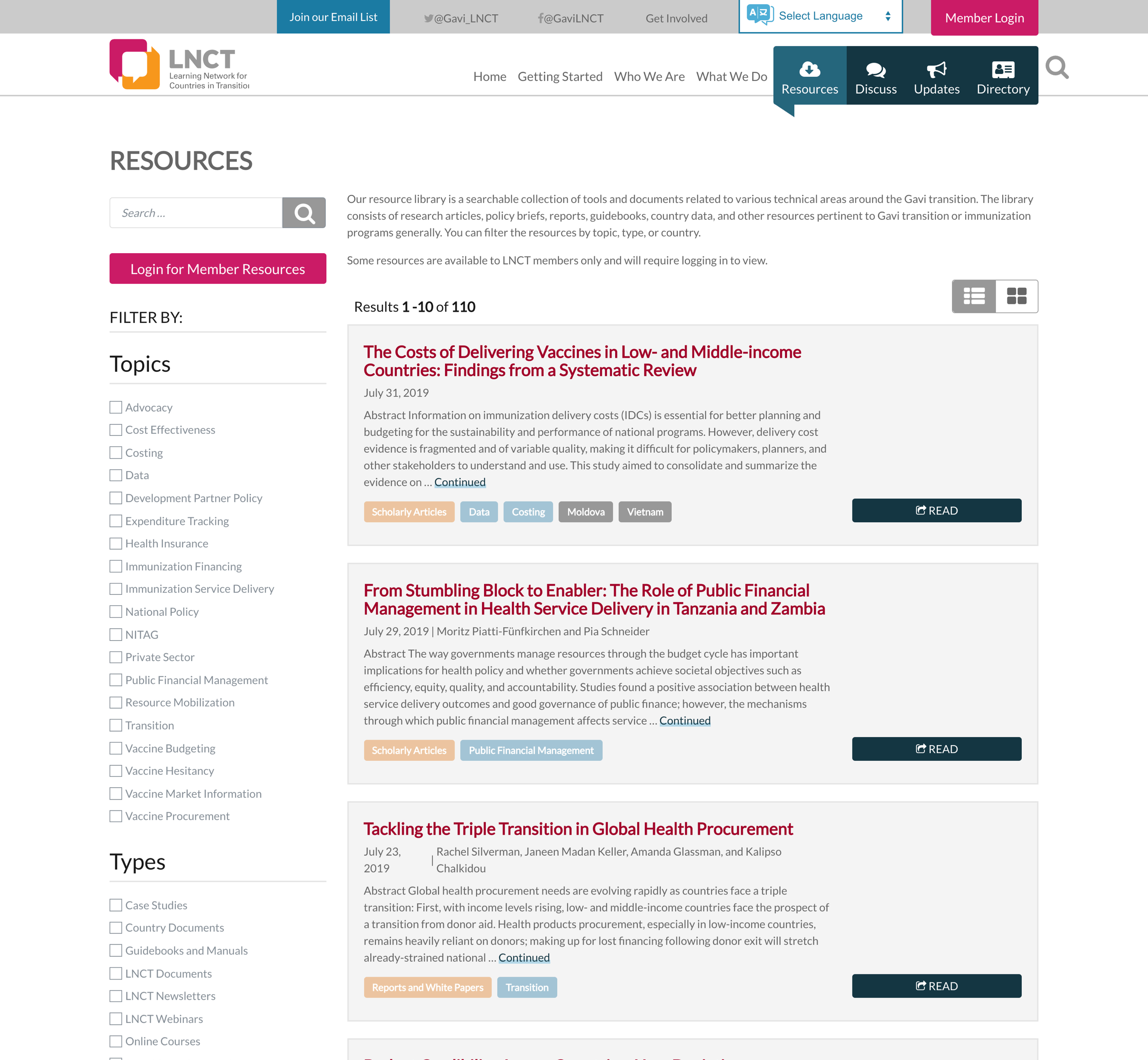 A screenshot of the Learning Networks for Countries in Transition online resources, a Kanopi Studios case study.