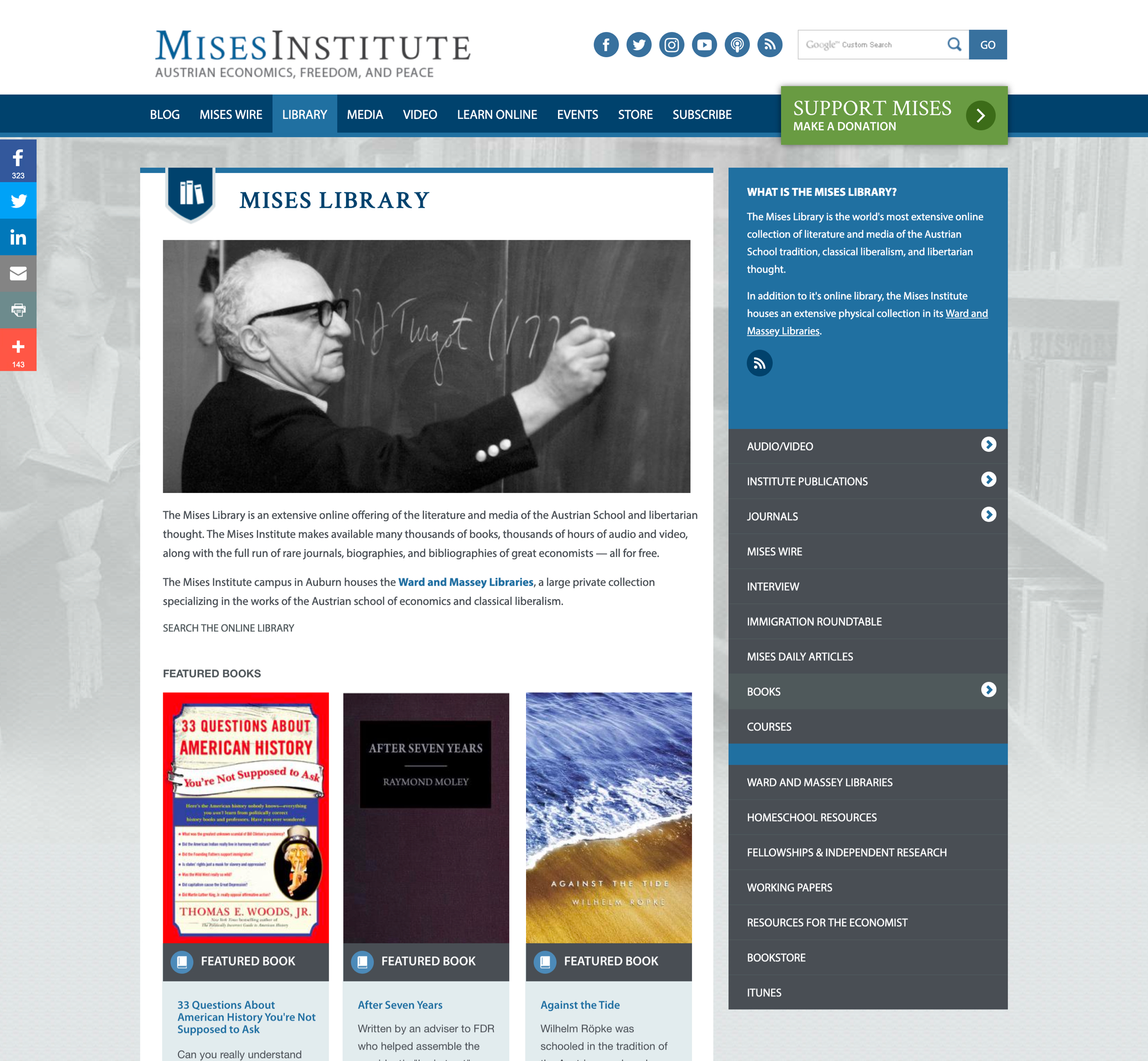 A screenshot of Mises' homepage, a Kanopi Studios case study.