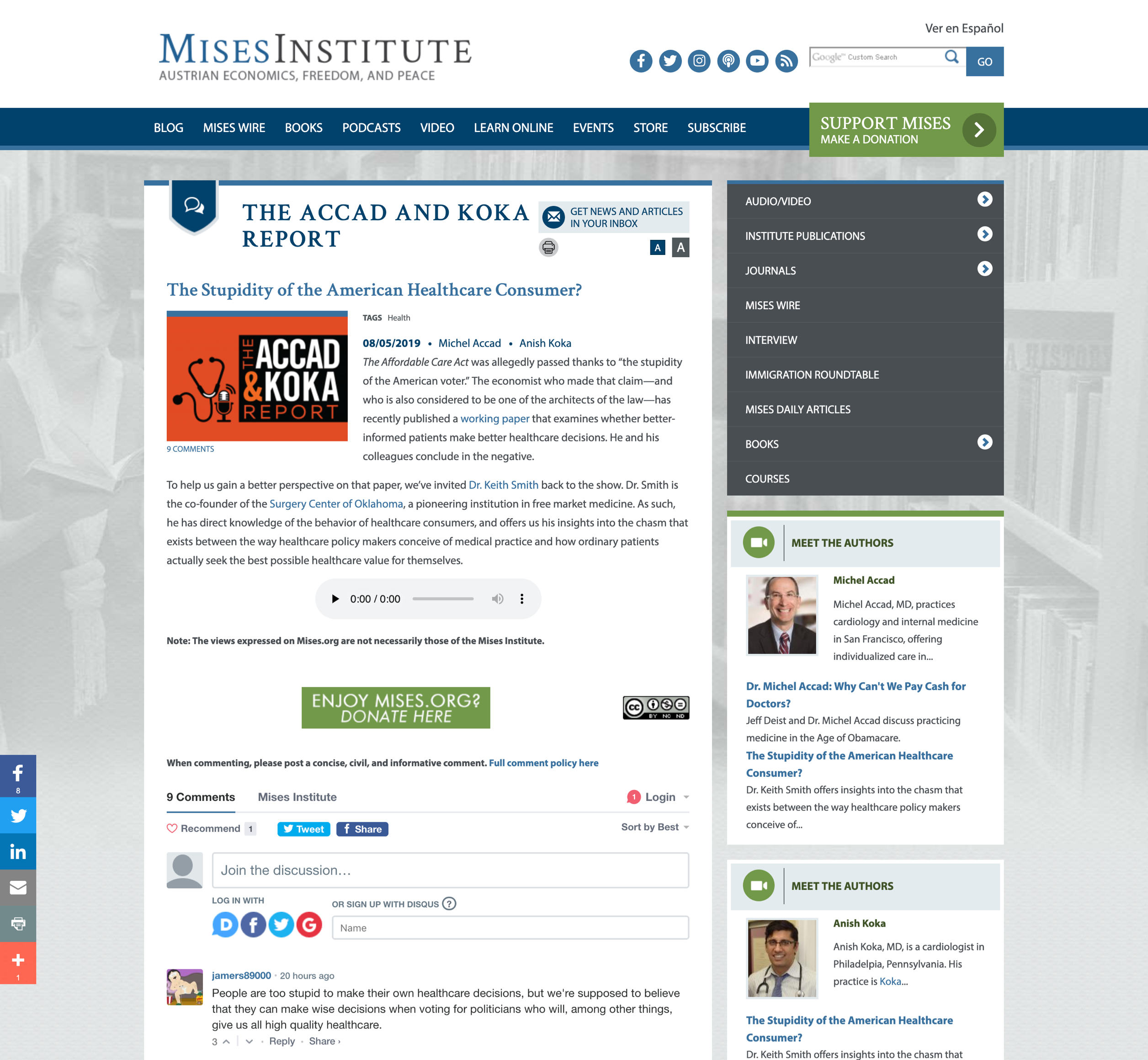 A screenshot of Mises' podcast web page, a Kanopi Studios case study.