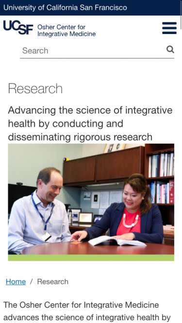 Research page on mobile view