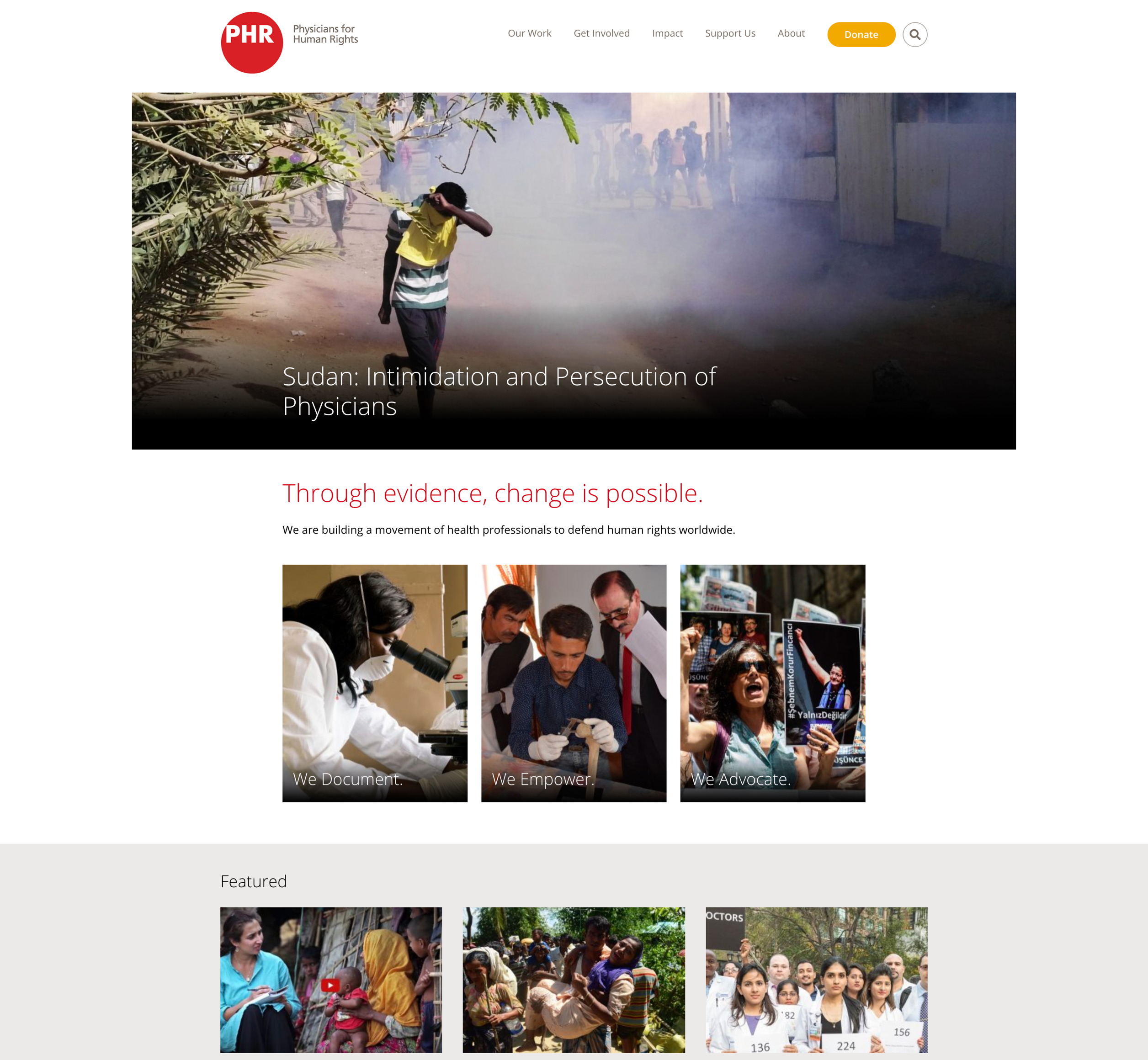 A screenshot of Physicians for Human Rights homepage, a Kanopi Studios case study.