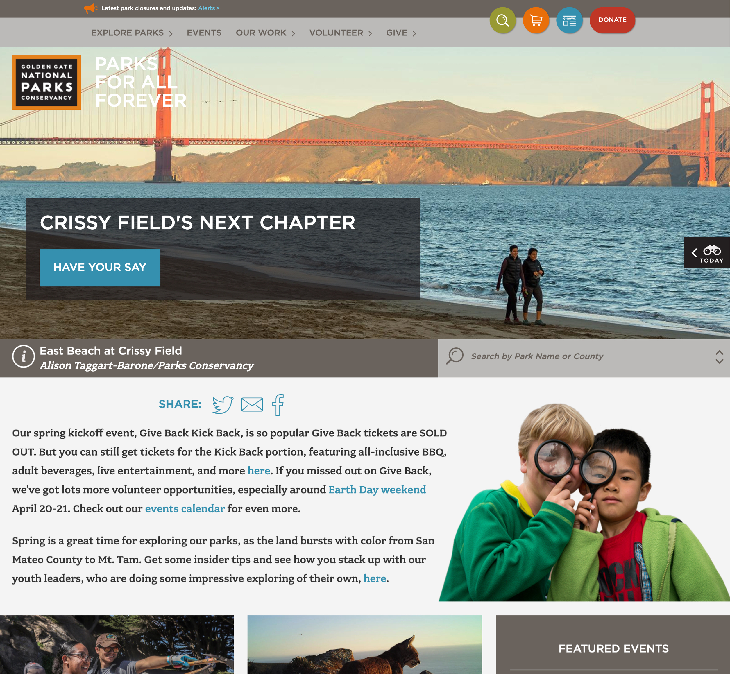 A screenshot of Parks Conservancy's homepage, a Kanopi Studios case study.