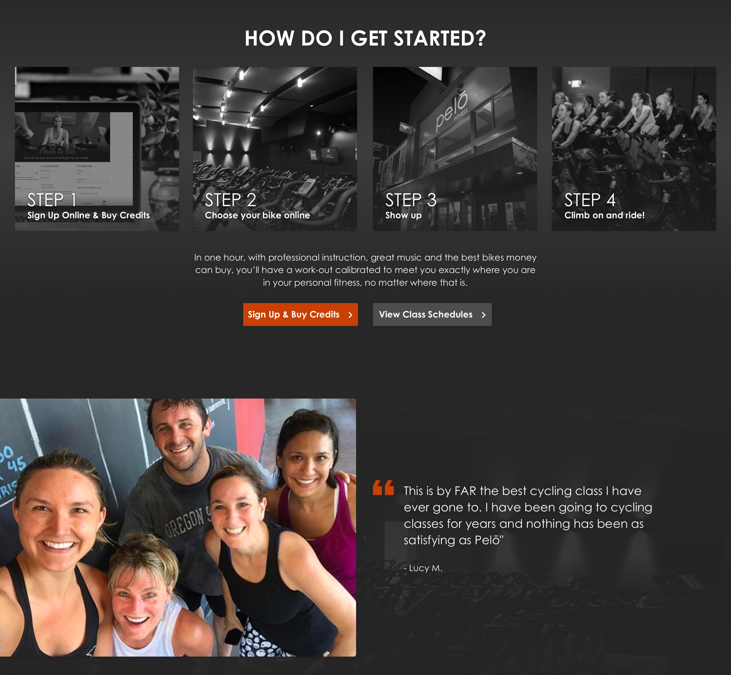 A screenshot of Pelo Fitness' getting started web page, a Kanopi Studios case study.