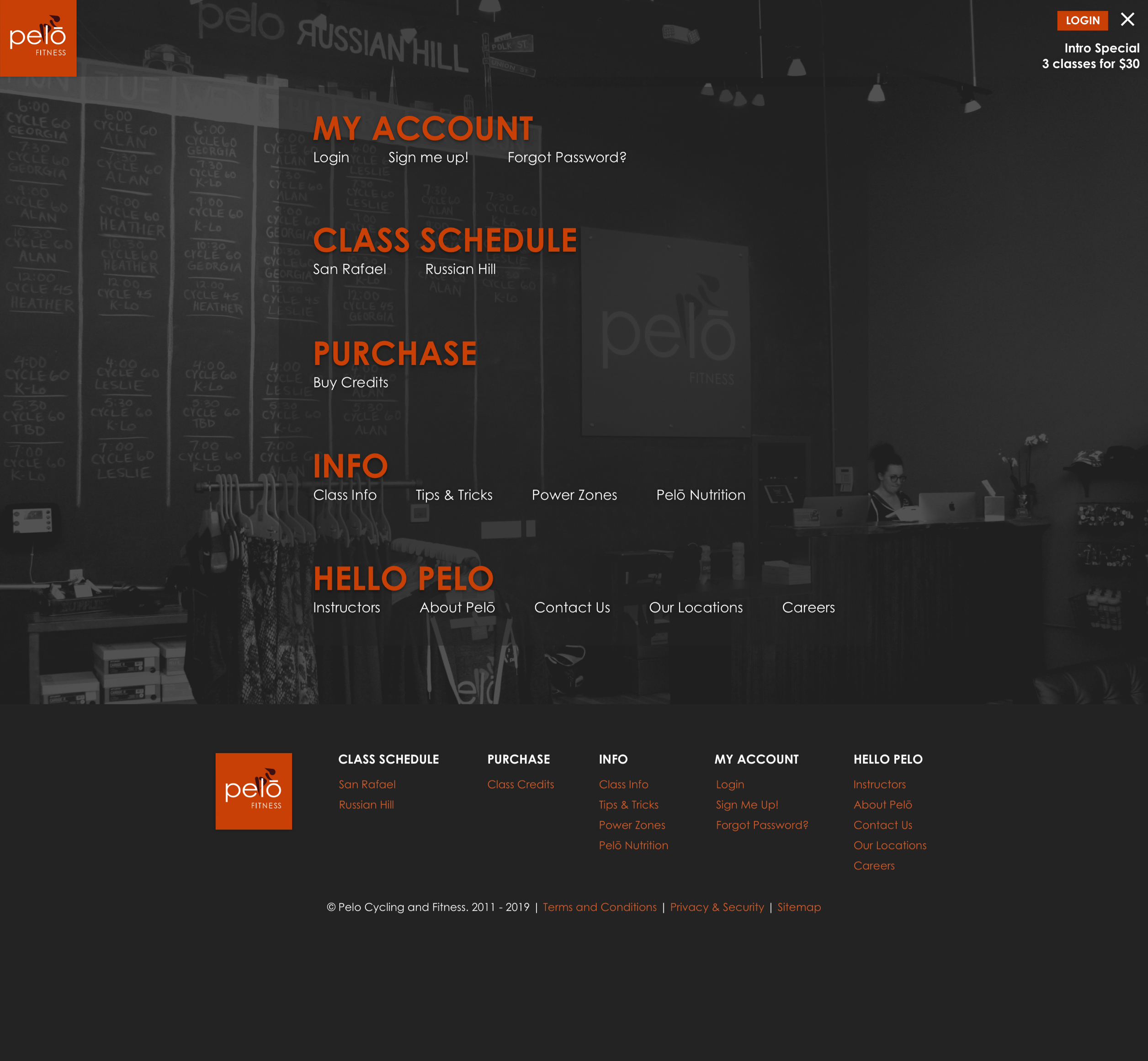 A screenshot of Pelo Fitness' website menu, a Kanopi Studios case study.