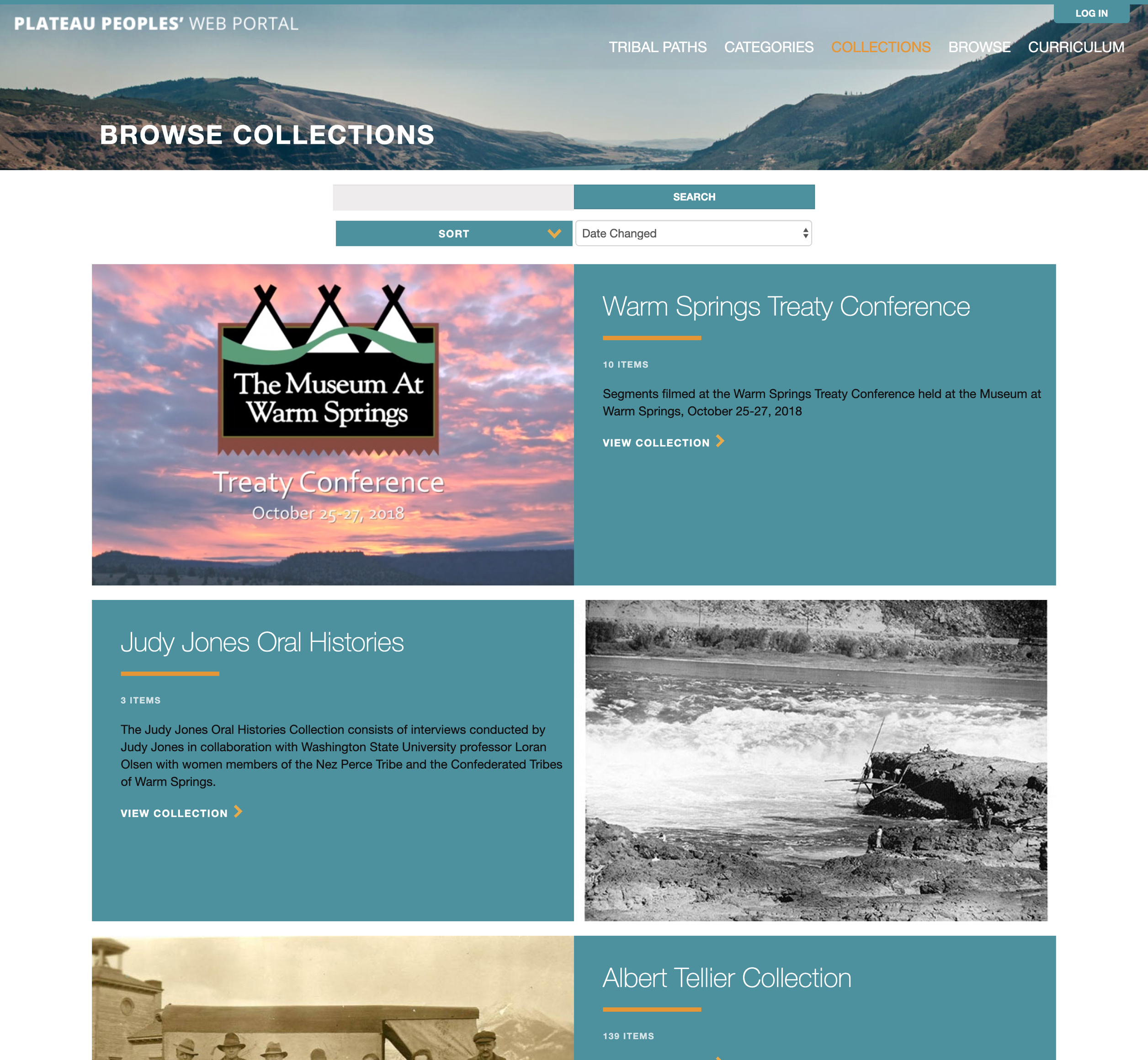 A screenshot of Plateau Peoples' collection page, a Mukutu website for Washington State University.
