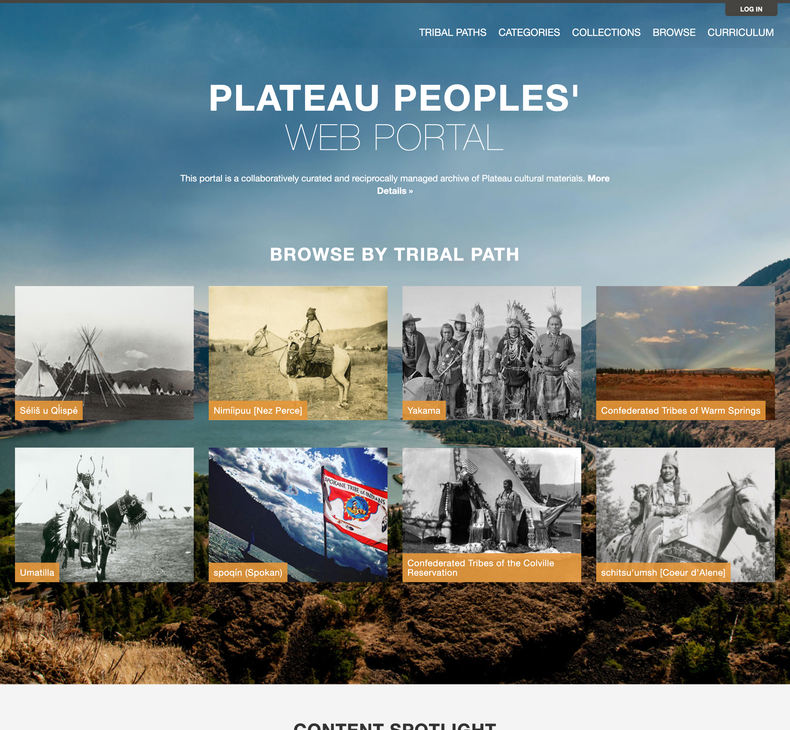 A screenshot of Washington State University's Mukutu website for the Plateau Peoples'.