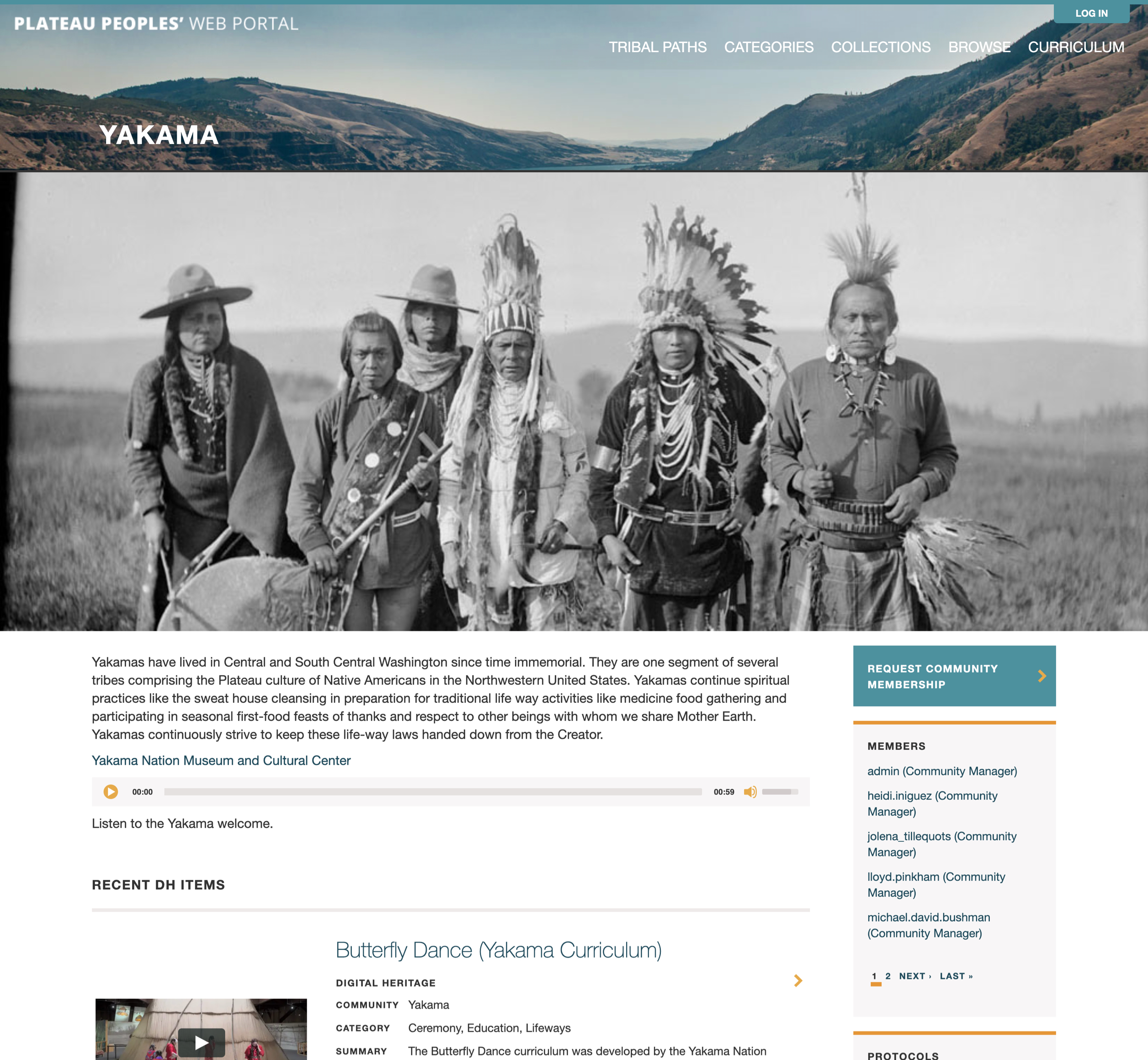 A screenshot of Plateau Peoples' web page for Yakama, a Mukutu website for Washington State University.