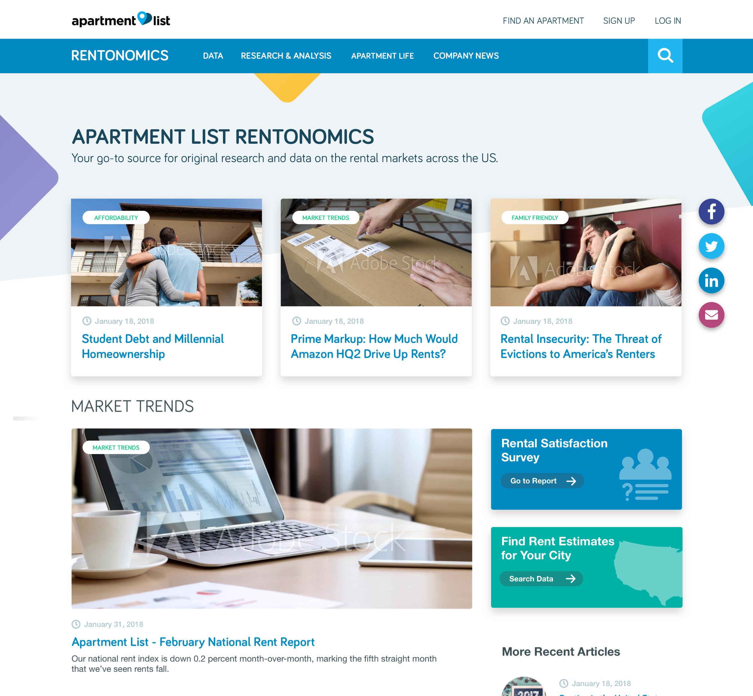 A screenshot of Rentanomics' homepage, a Kanopi Studios case study.