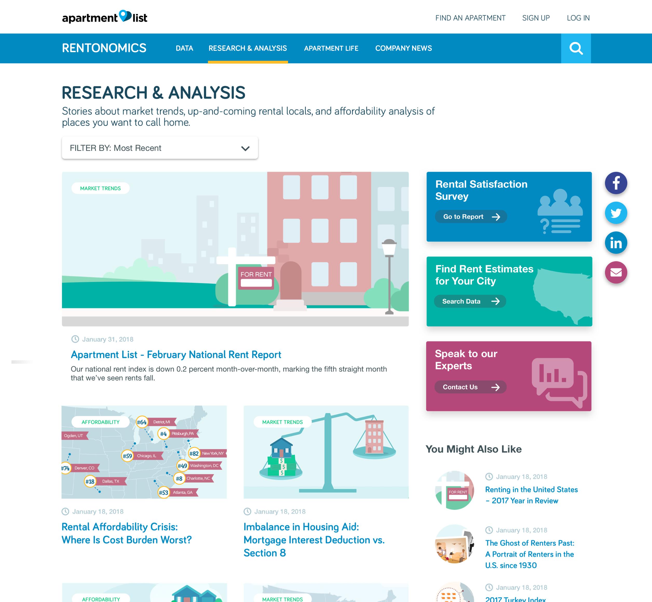 A screenshot of Rentanomics' research web page, a Kanopi Studios case study.