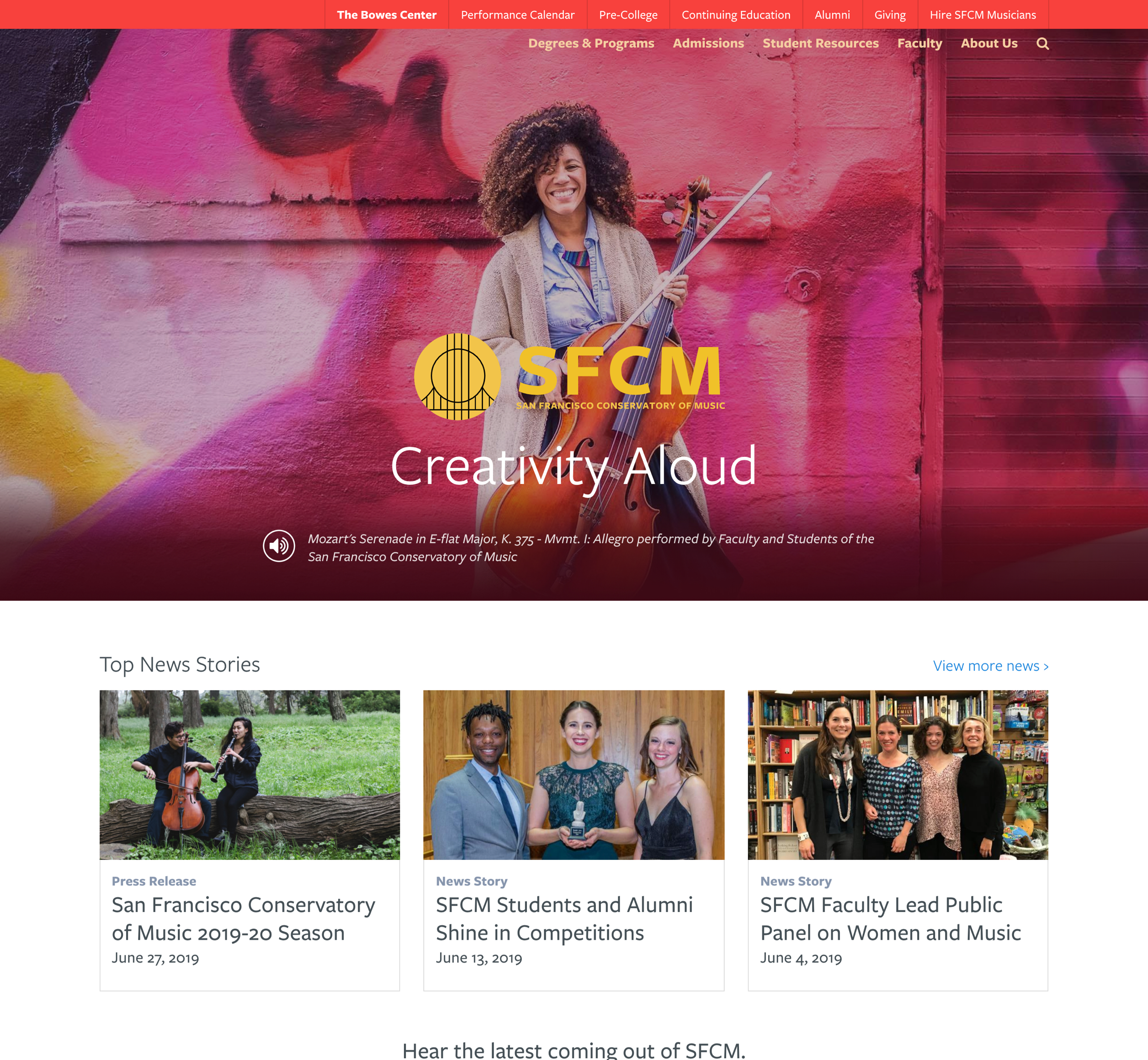 A screenshot of San Francisco's Conservatory of Music homepage, Aa Kanopi Studios case study.
