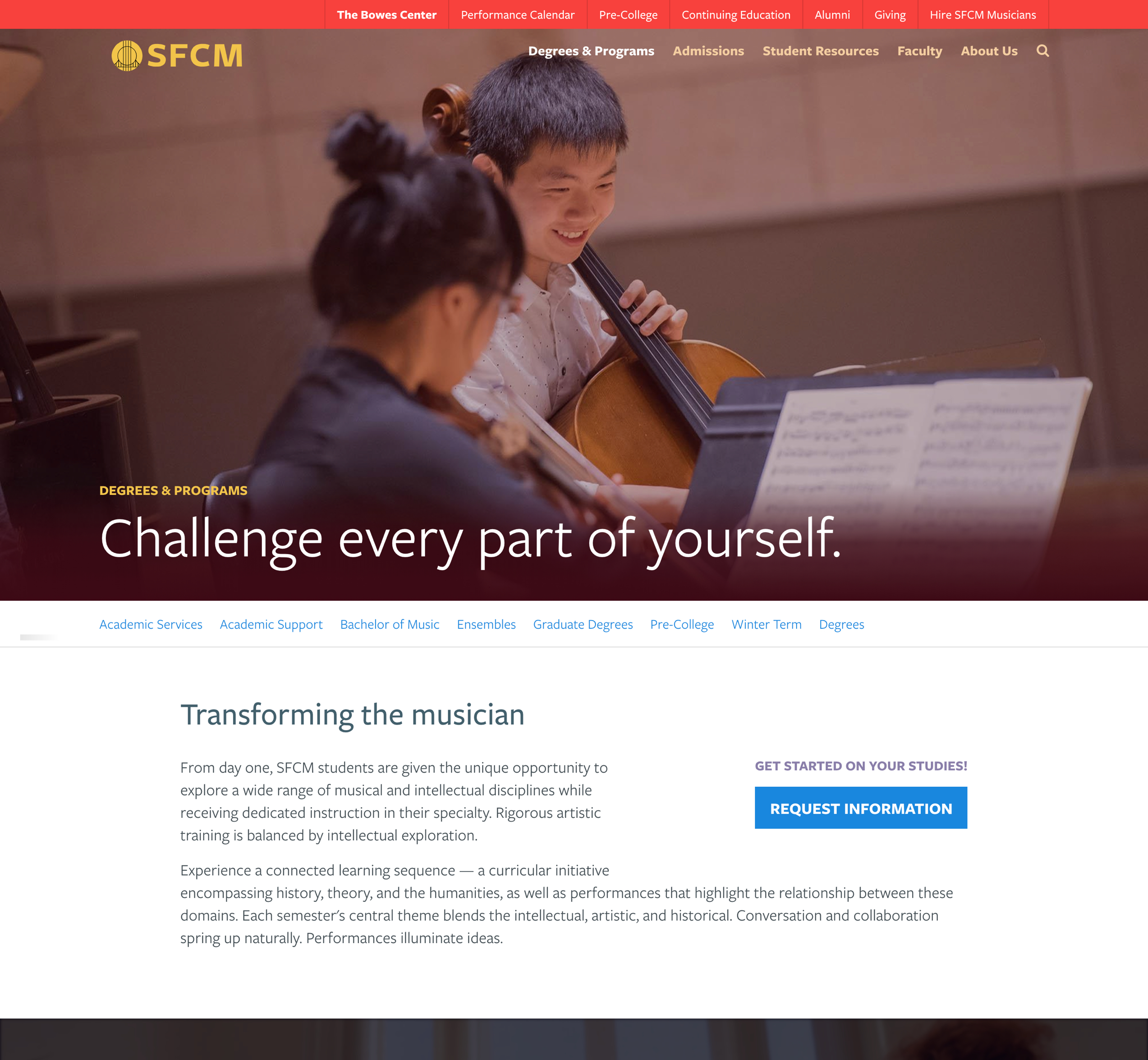 A screenshot of San Francisco's Conservatory of Music program web page, Aa Kanopi Studios case study.