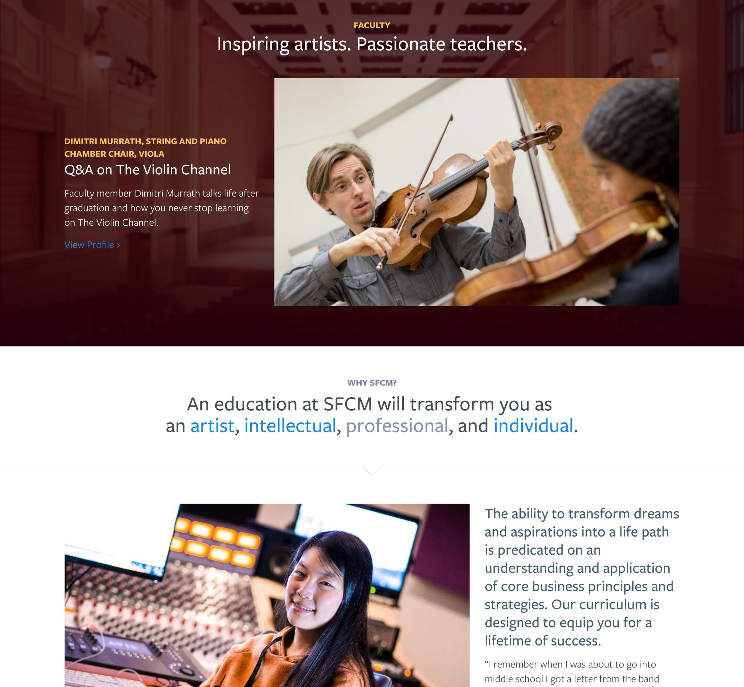 A screenshot of San Francisco's Conservatory of Music layout design, Aa Kanopi Studios case study.