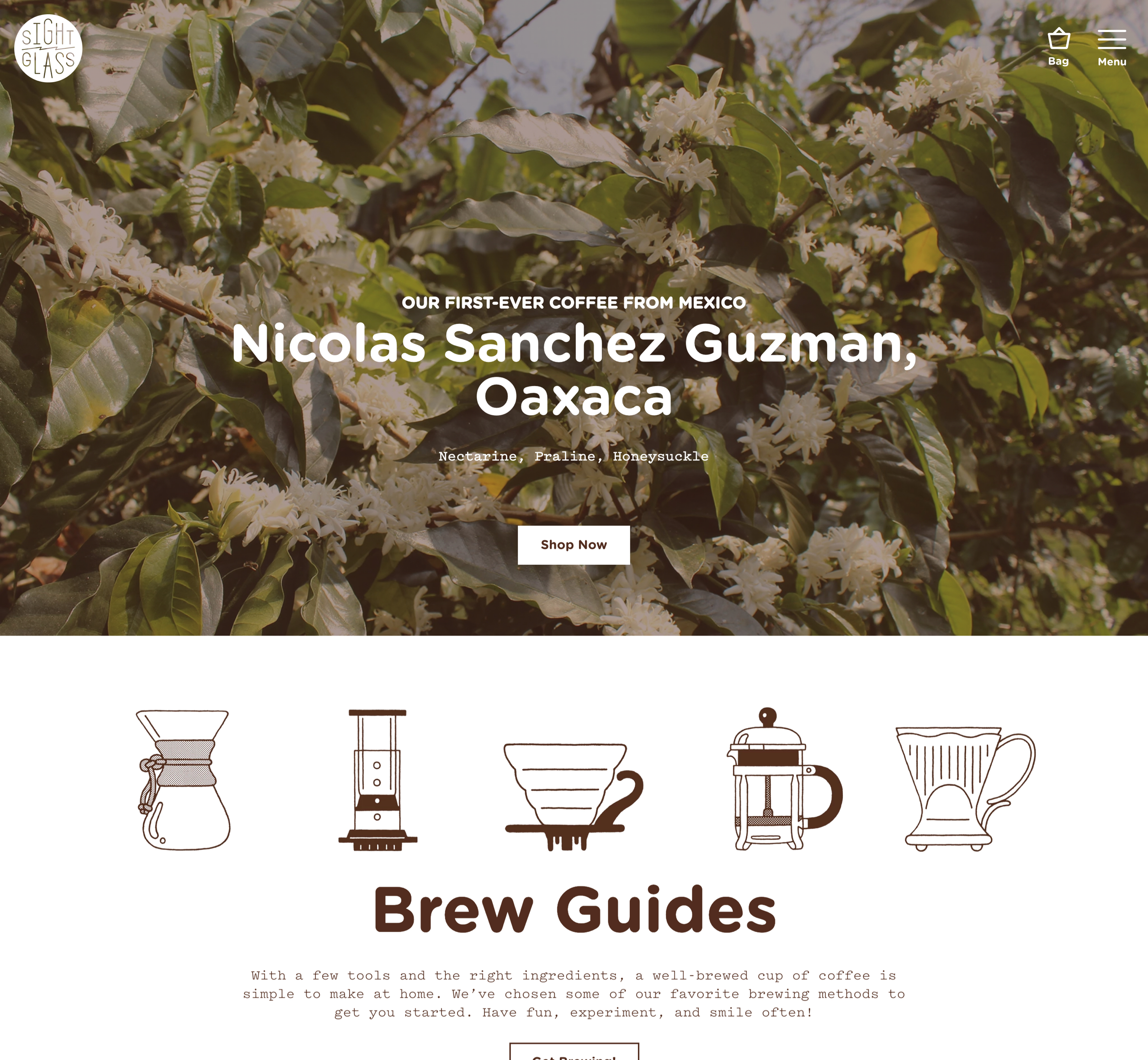A screenshot of Sightglass Coffee's homepage, a Kanopi Studios case study.