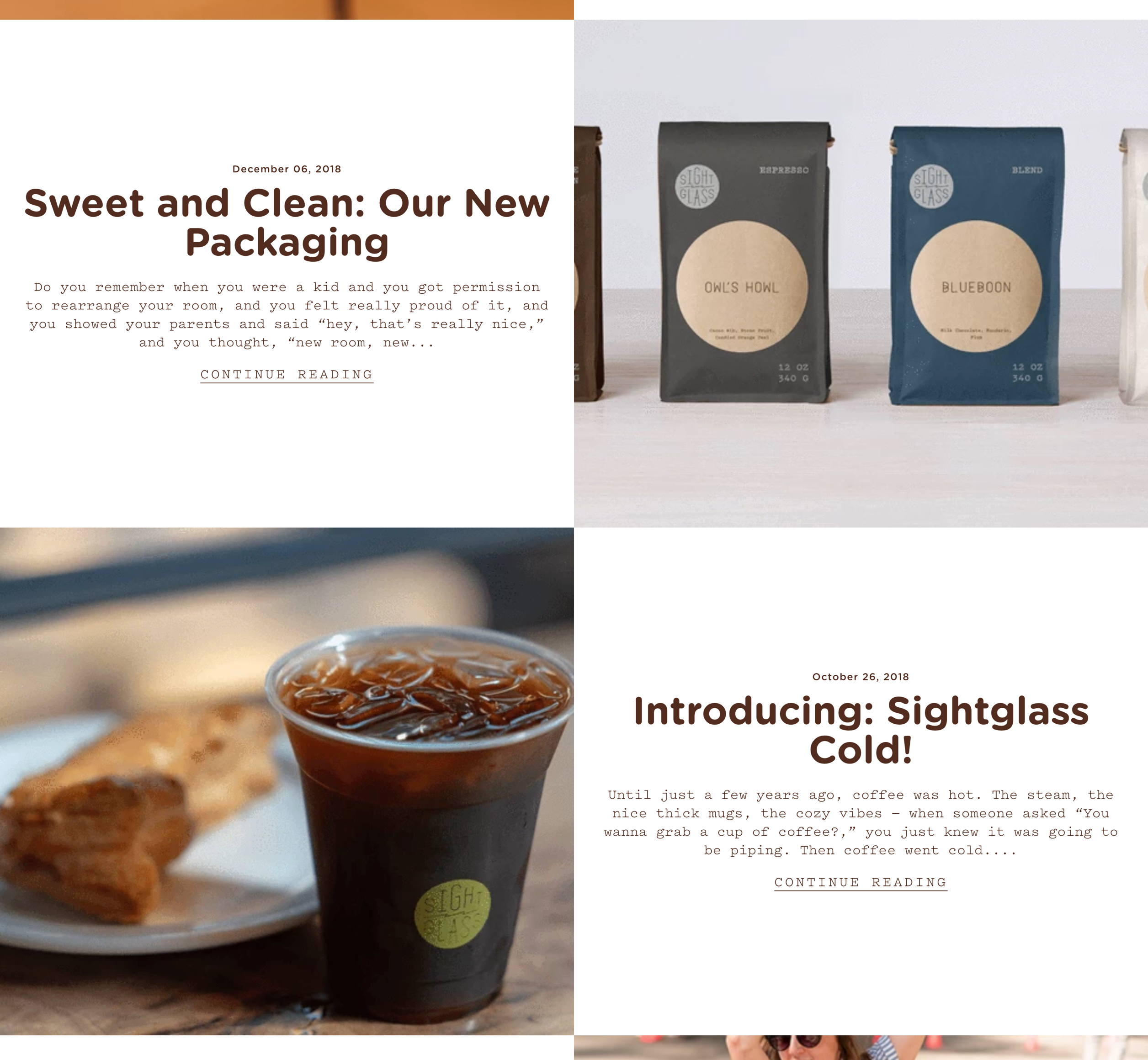 A screenshot of Sightglass Coffee's product layout, a Kanopi Studios case study.