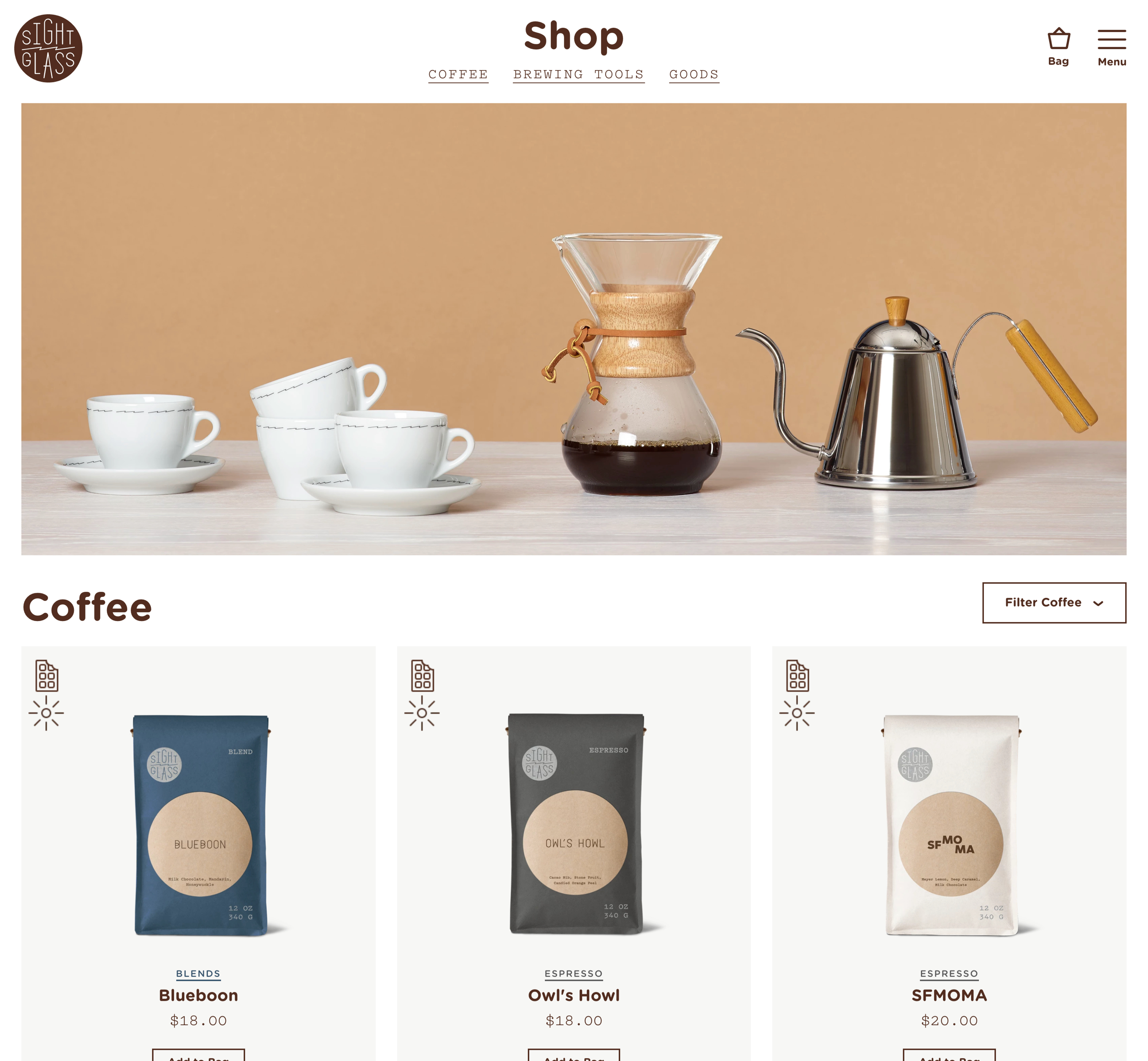 A screenshot of Sightglass Coffee's web shop, a Kanopi Studios case study.